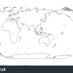 Outline Map World Asia Australia Centered Stock Vector Royalty Free 1216541503