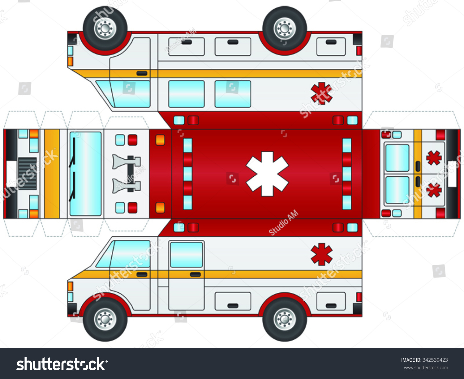 Outline Ambulance Paramedic Cut Out Glue Stock Vector