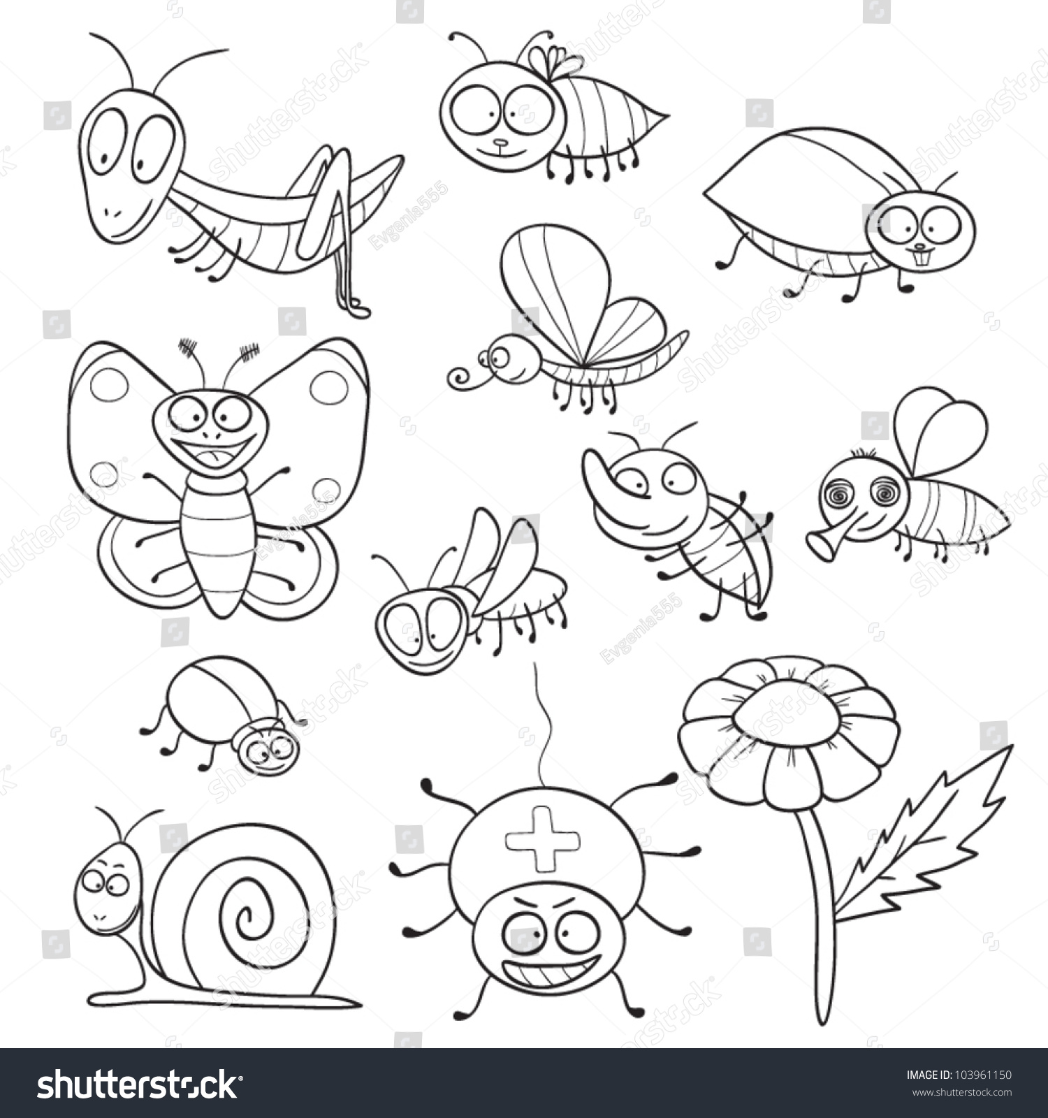 Outlined Cute Cartoon Insects Coloring Book Stock Vector