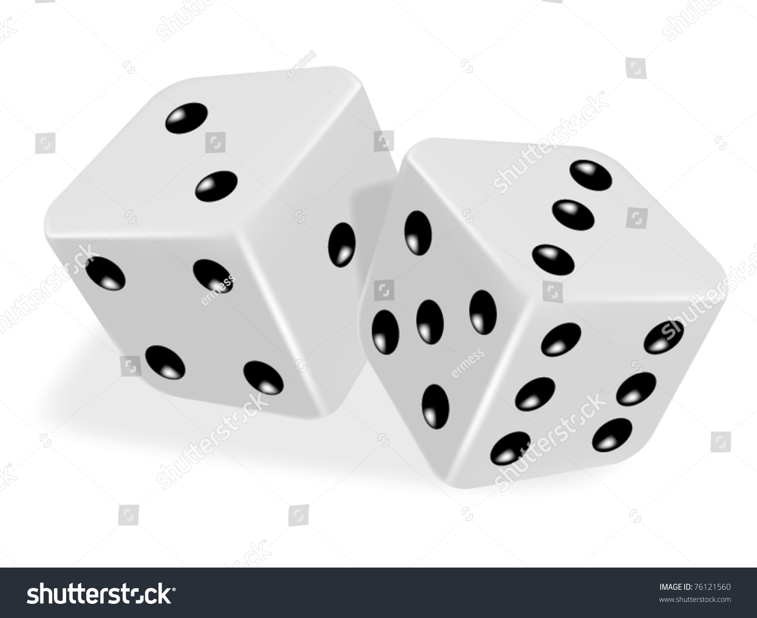 Pair Dice Roll On Game Table Stock Vector