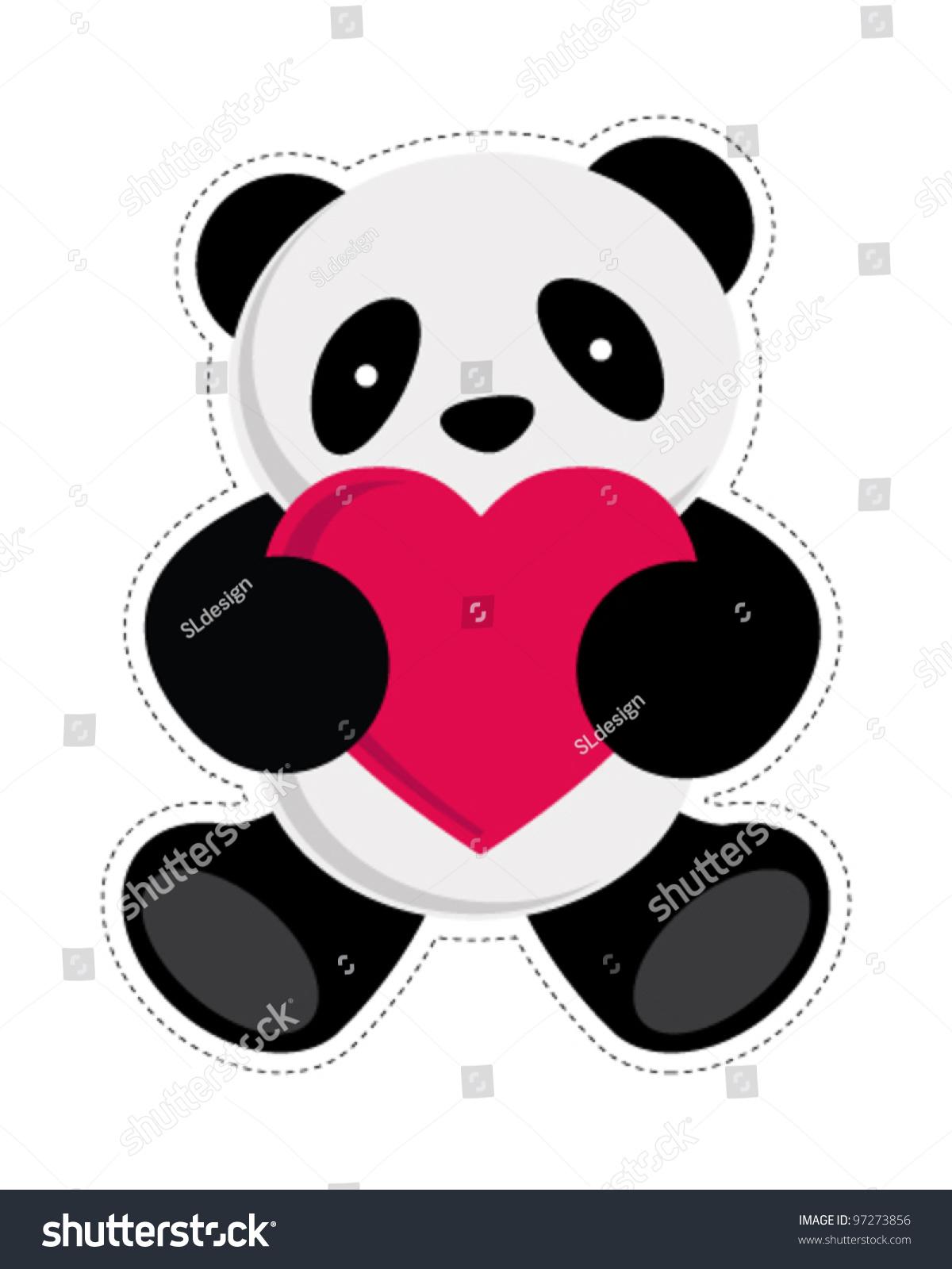 Panda Holding Heart Vector Illustration Stock Vector