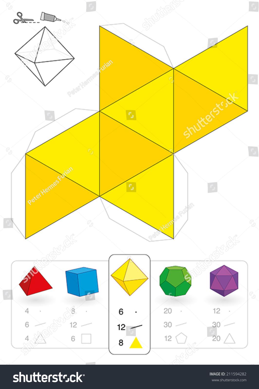 Paper Model Octahedron One Five Platonic Stock Vector
