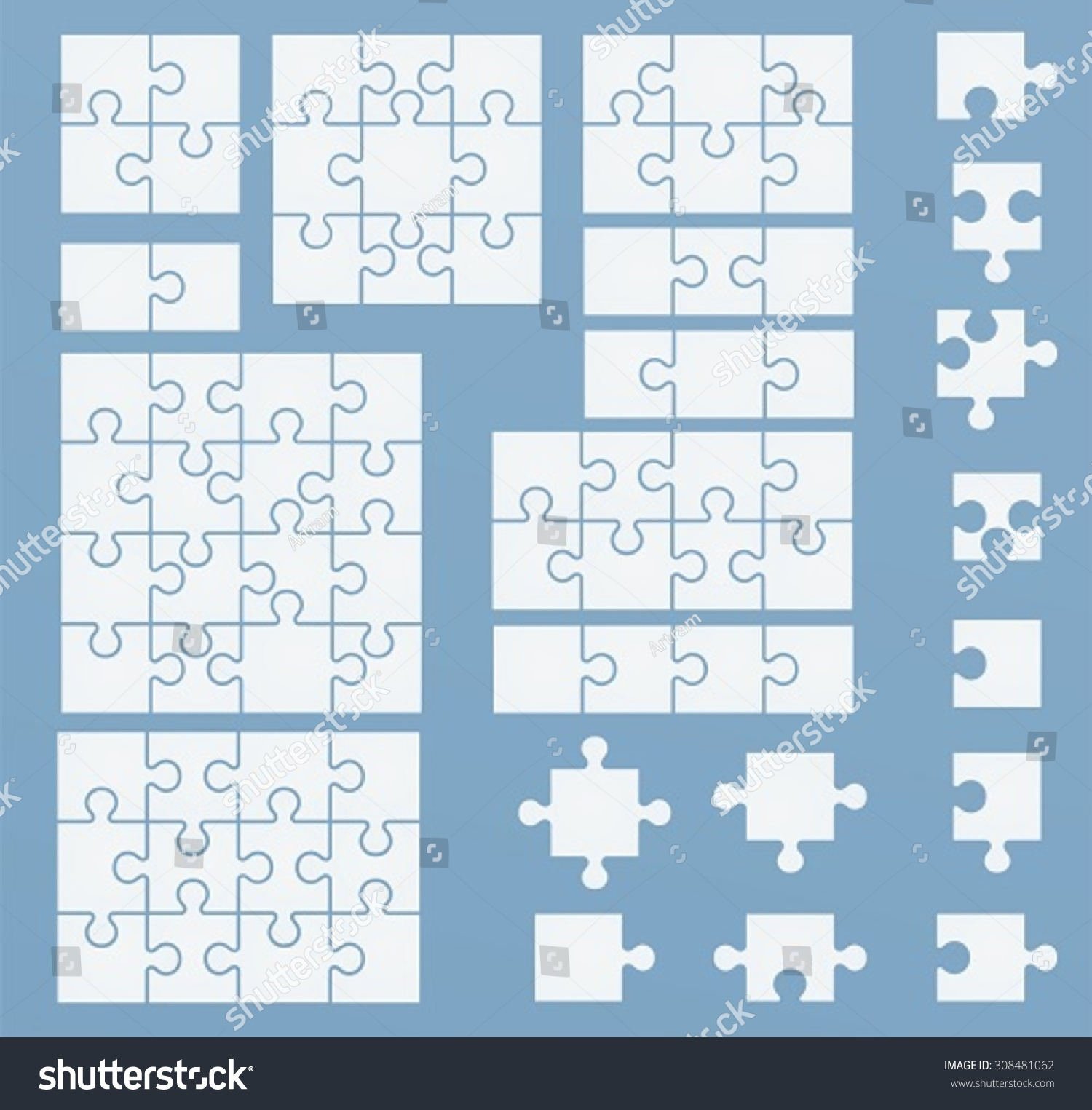 Parts Puzzles On Blue Template Set Stock Vector