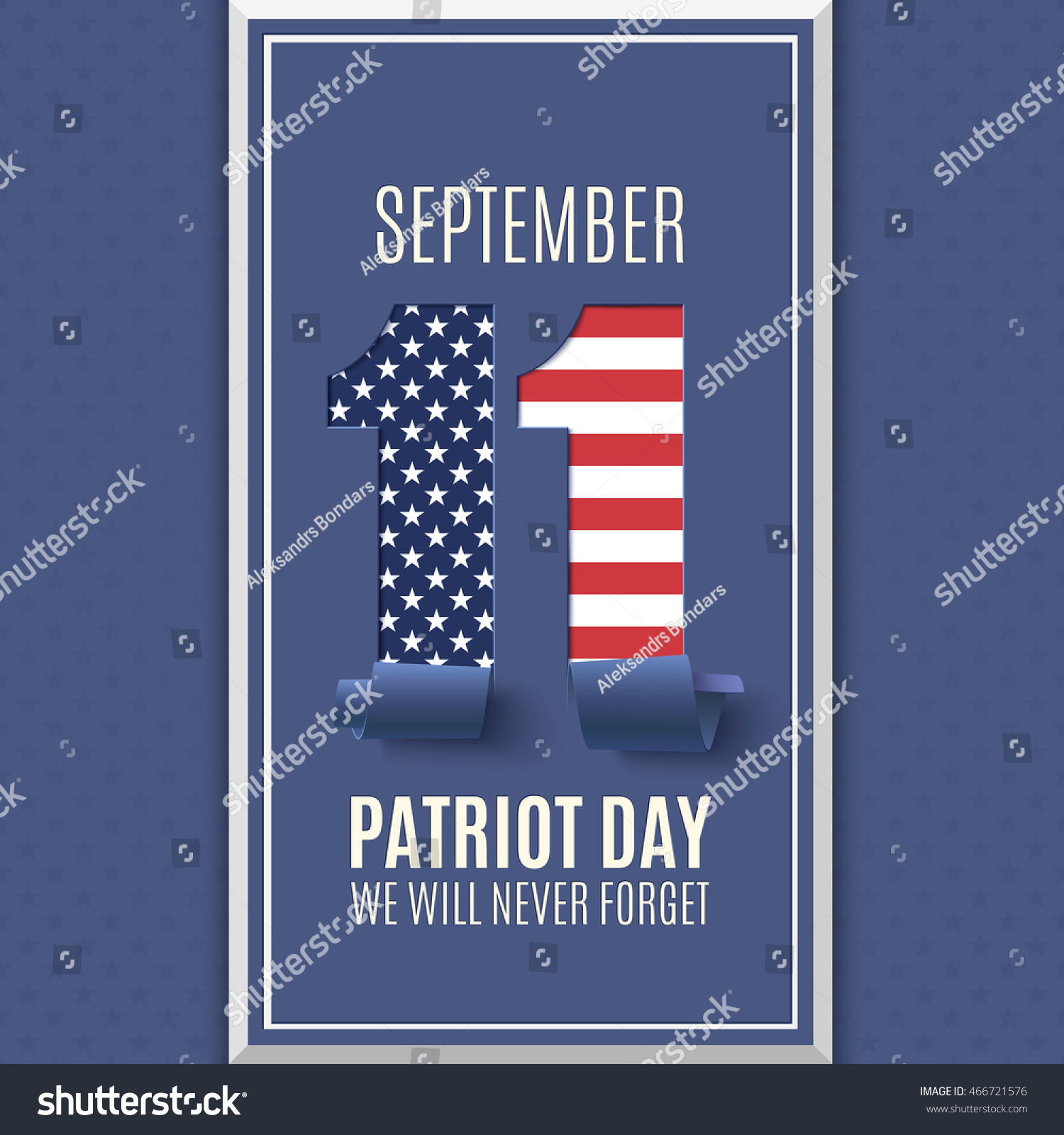 Patriot Day Abstract Background 11 September Stock Vector