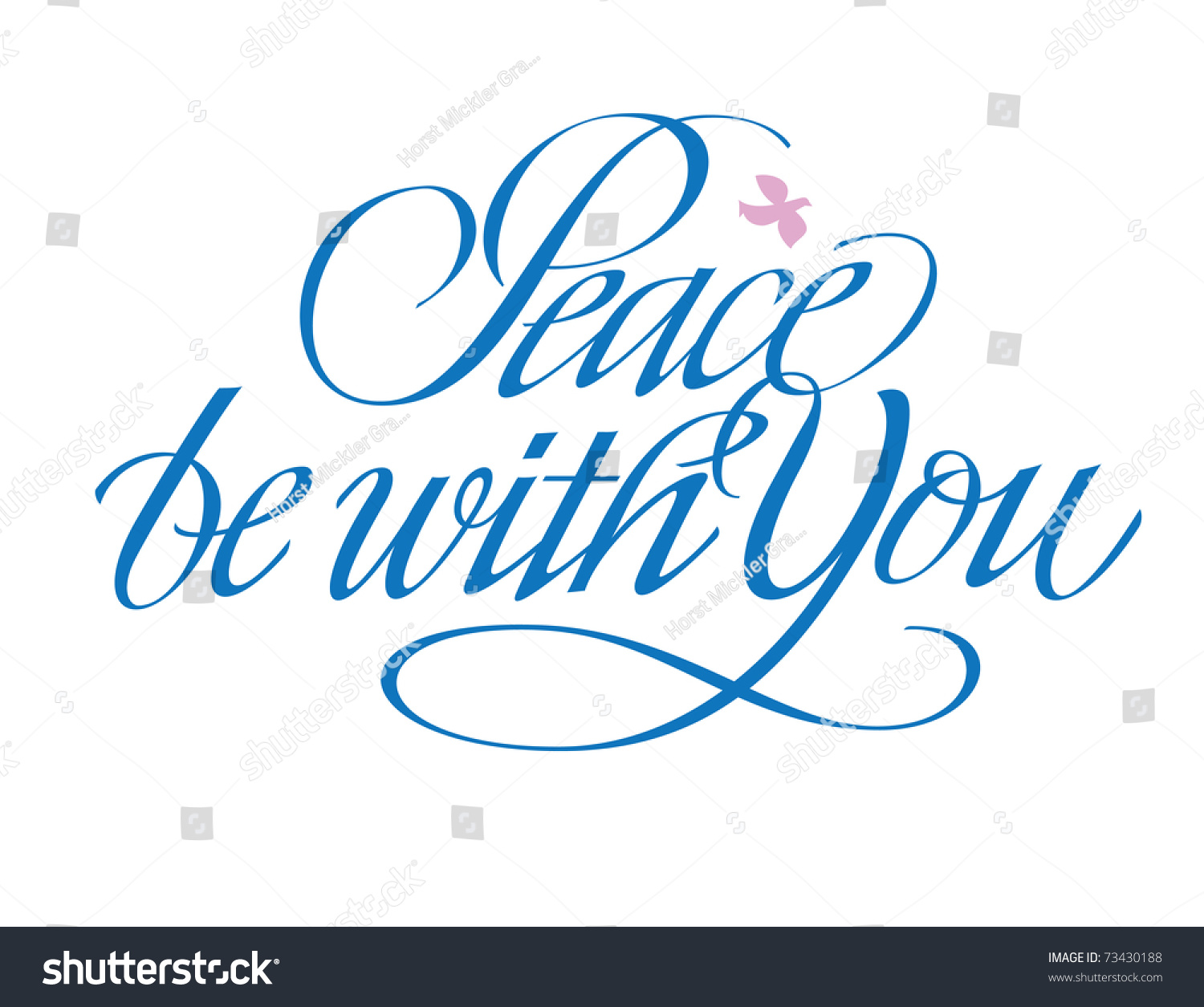 Peace Be You Hand Lettering Stock Vector 73430188