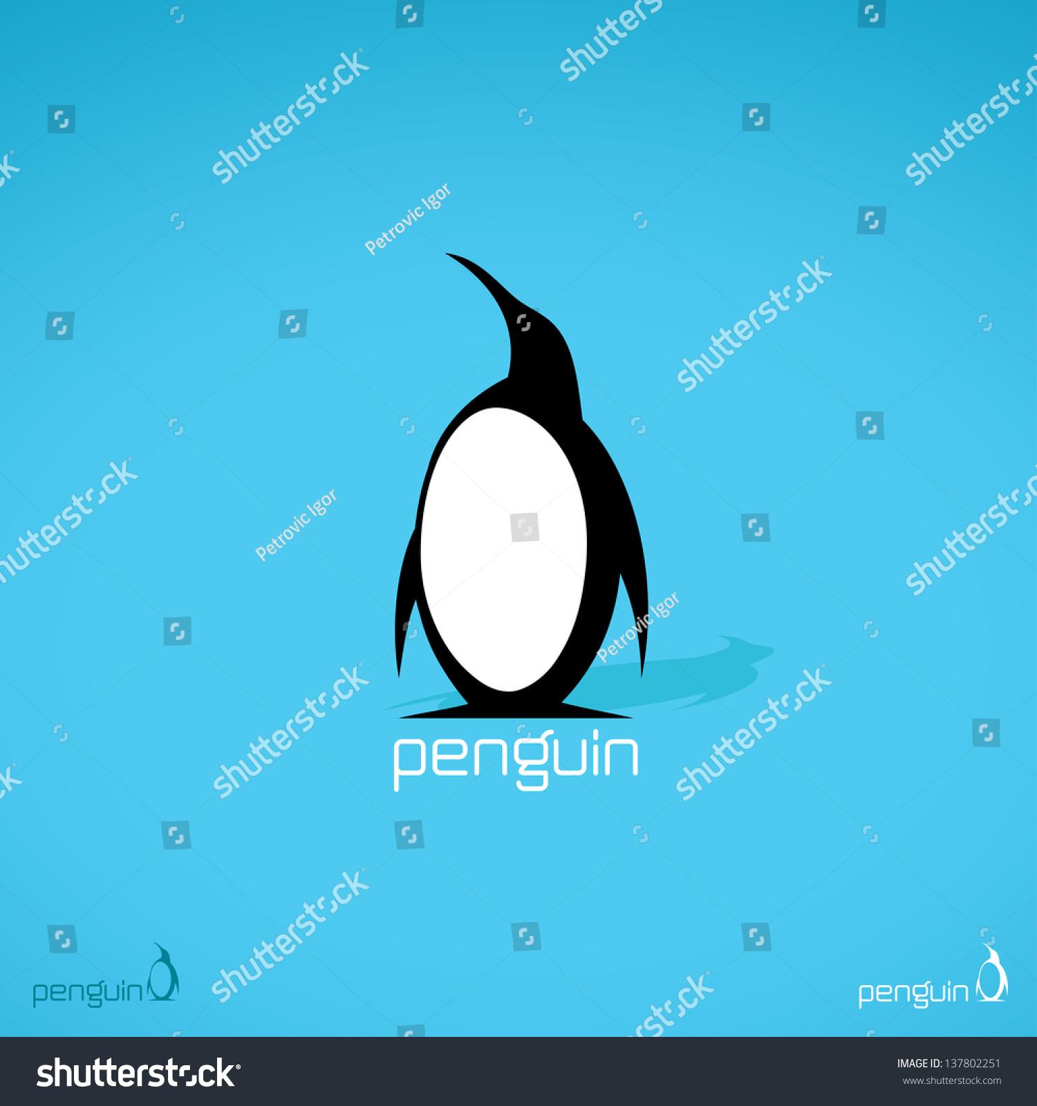 Penguin Label Vector Illustration Stock Vector