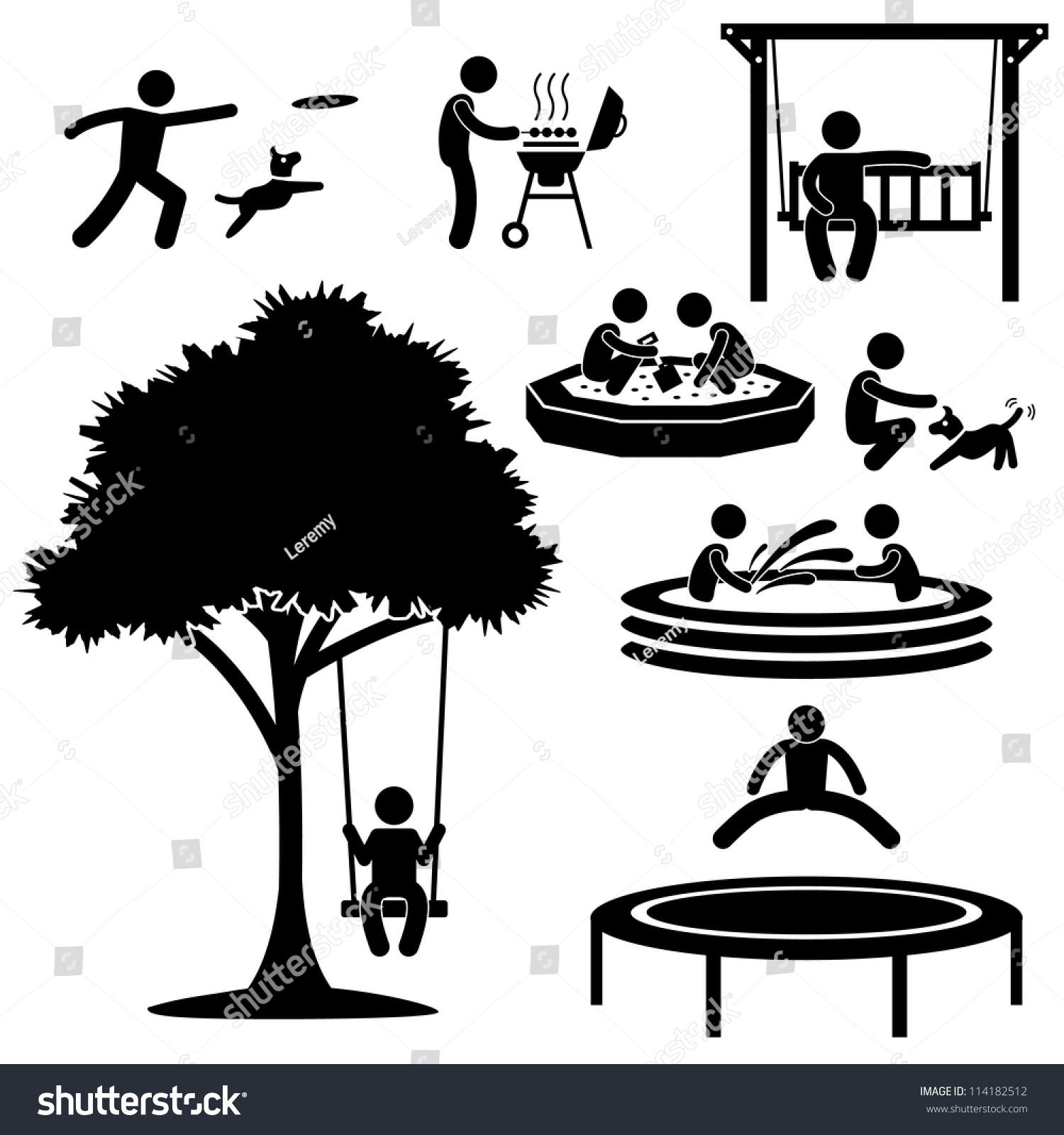 People Children Home Garden Park Playground Stock Vector