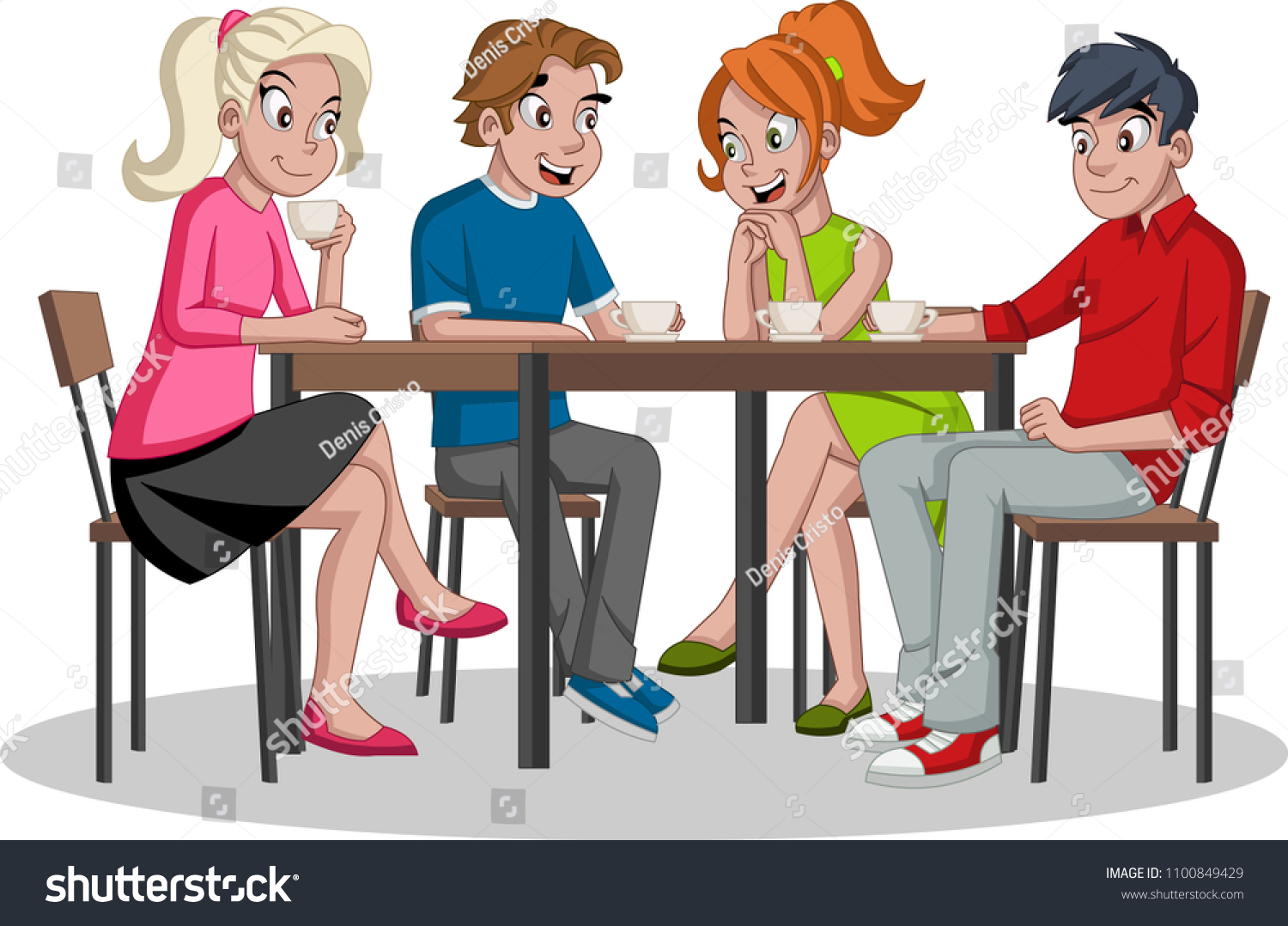 https www shutterstock com fr image vector people sitting table drinking coffee cafe 1100849429