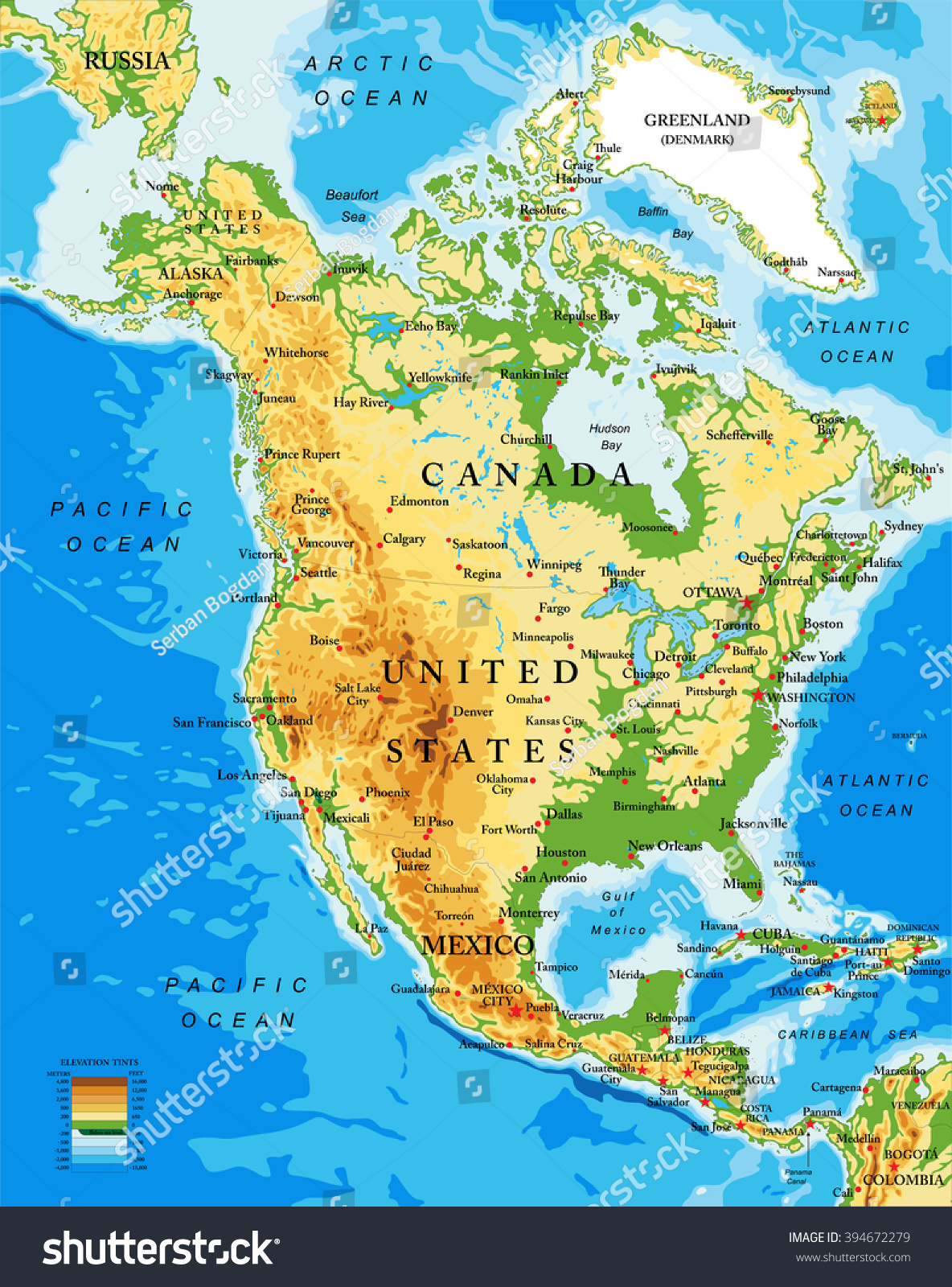 Physical Map North America Stock Vector