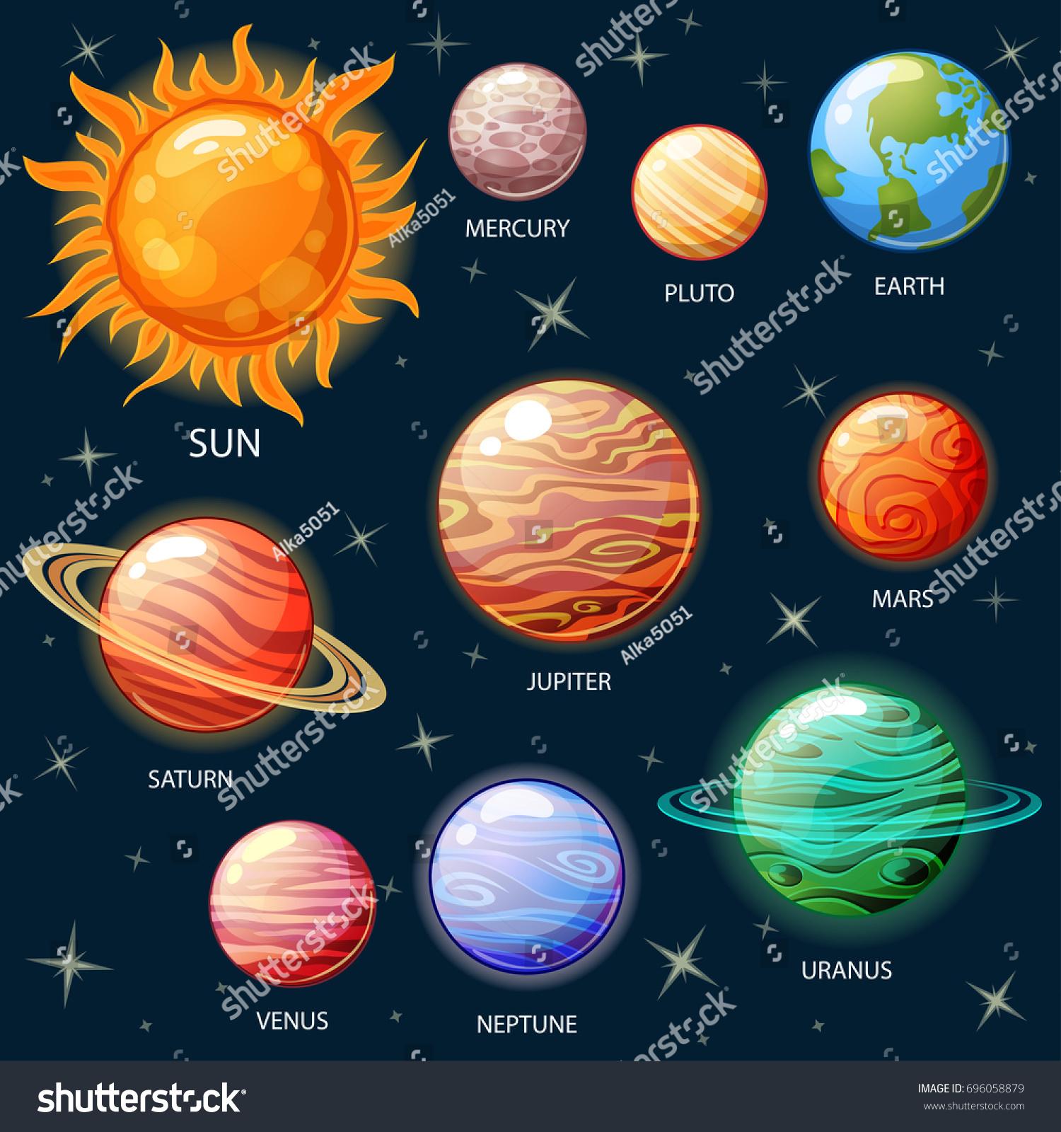 Planets Solar System Sun Mercury Venus Stock Vector