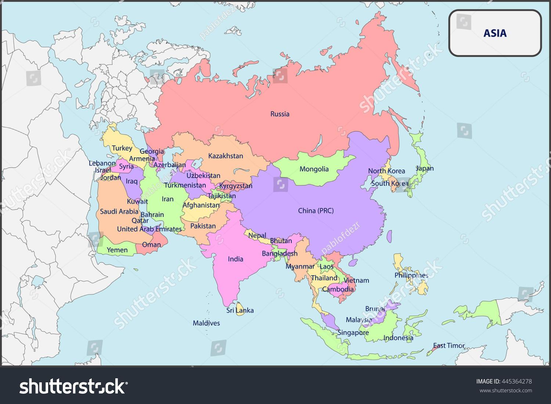 Political Map Asia Names Stock Vector 445364278