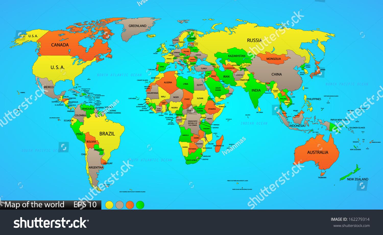 Political World Map On Ocean Blue Stock Vector