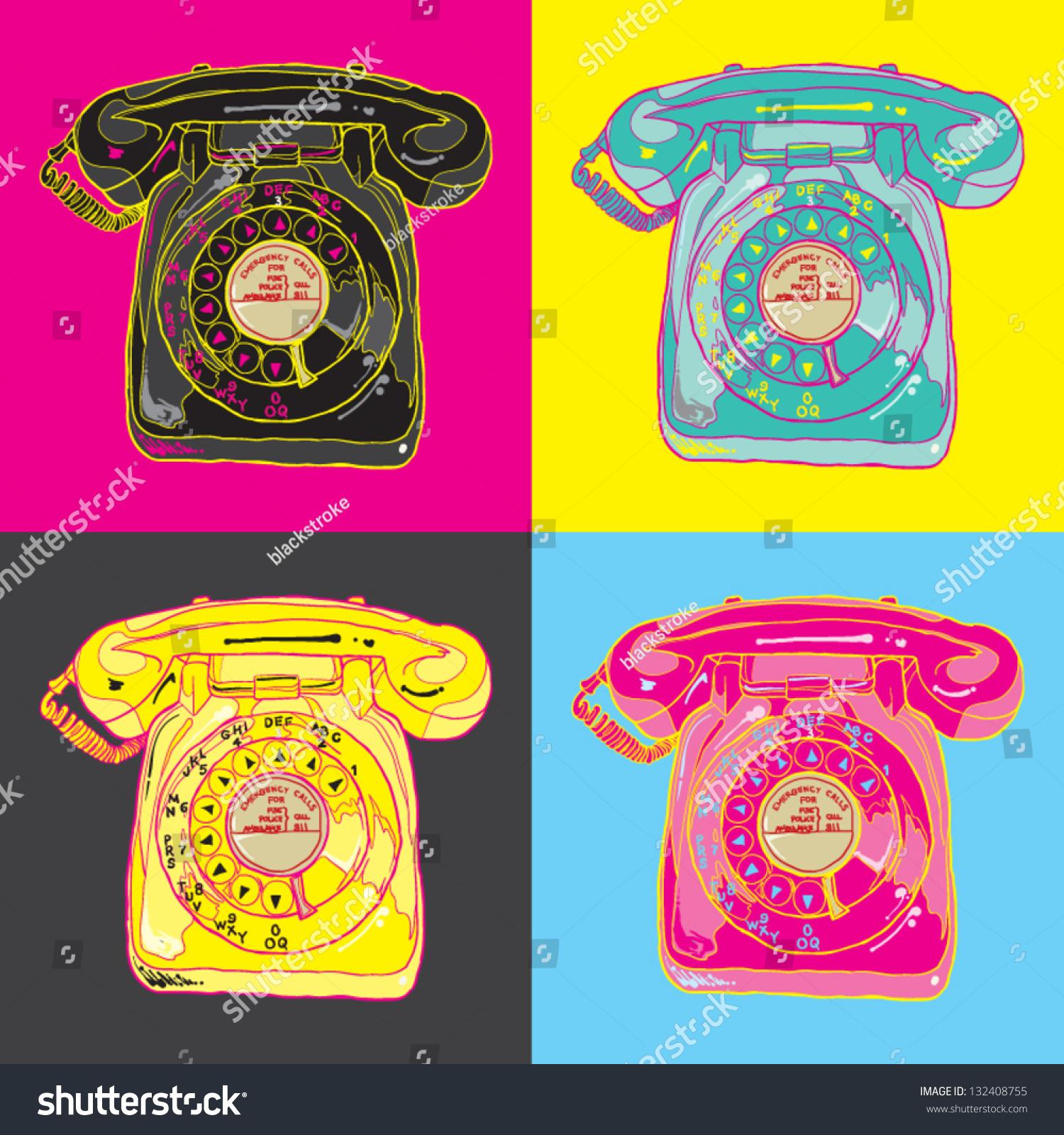 Pop Art Telephone Stock Vector