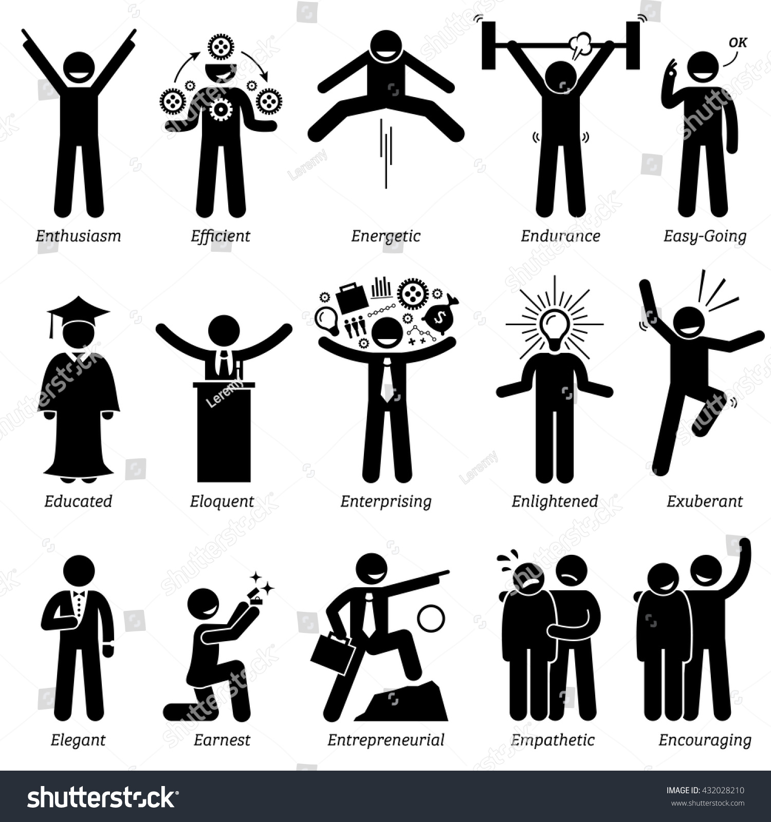 Positive Personalities Character Traits Stick Figures