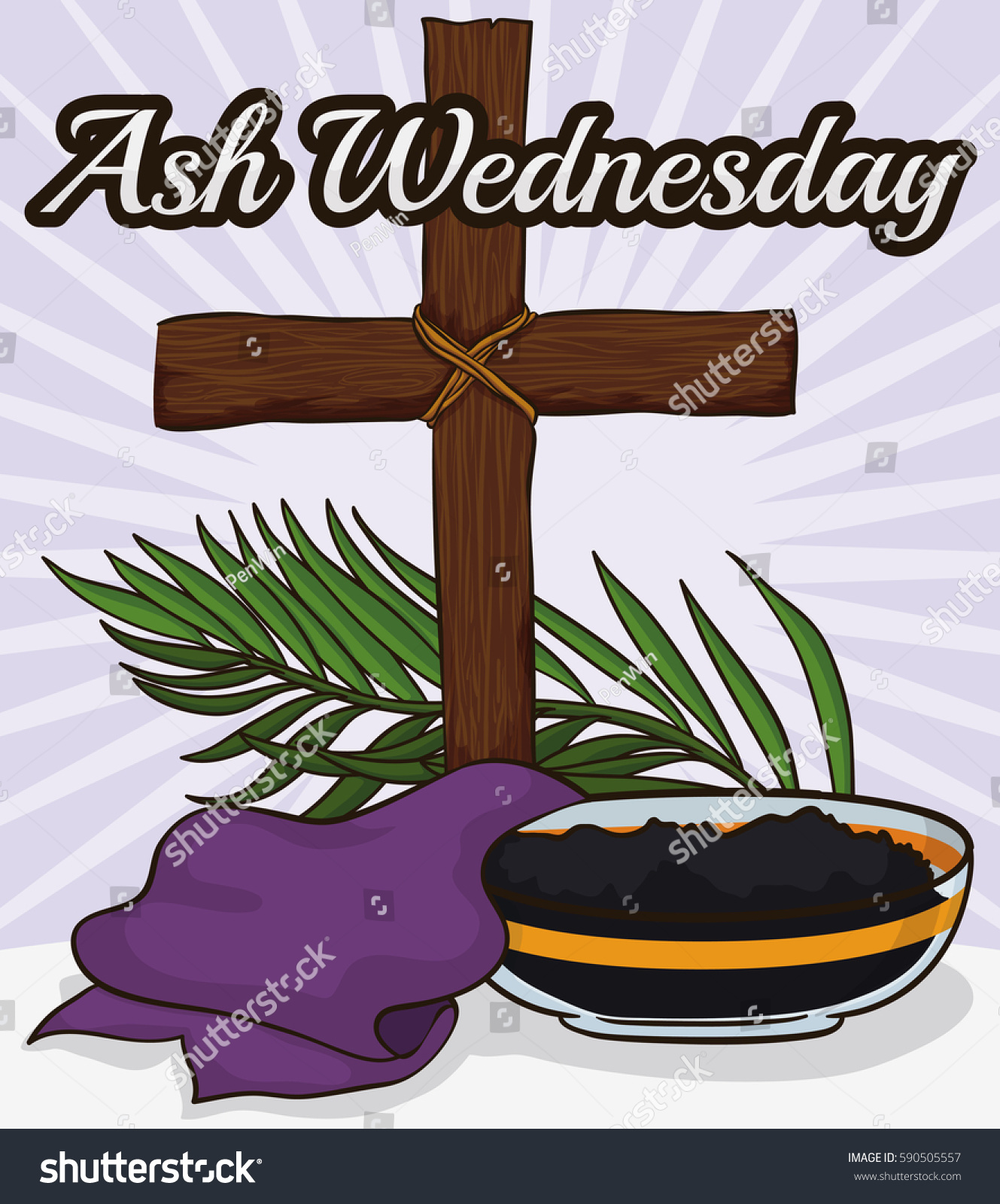 Poster Some Elements Commemorate Ash Wednesday Stock