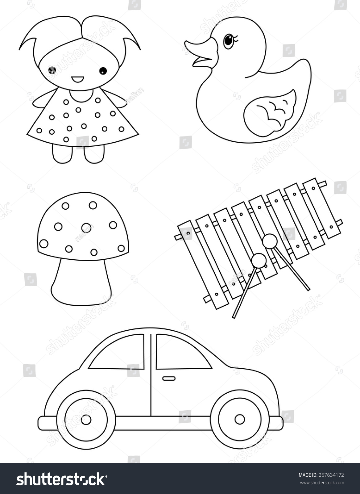 Pre School Kids Coloring Book Page Worksheet With