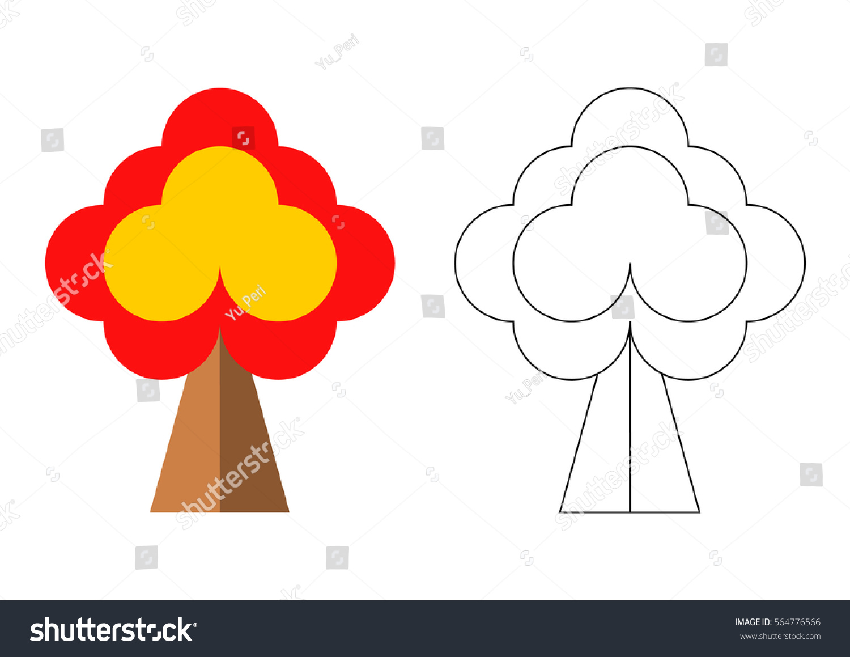 Preschool Coloring Page Autumn Tree Vector Stock Vector