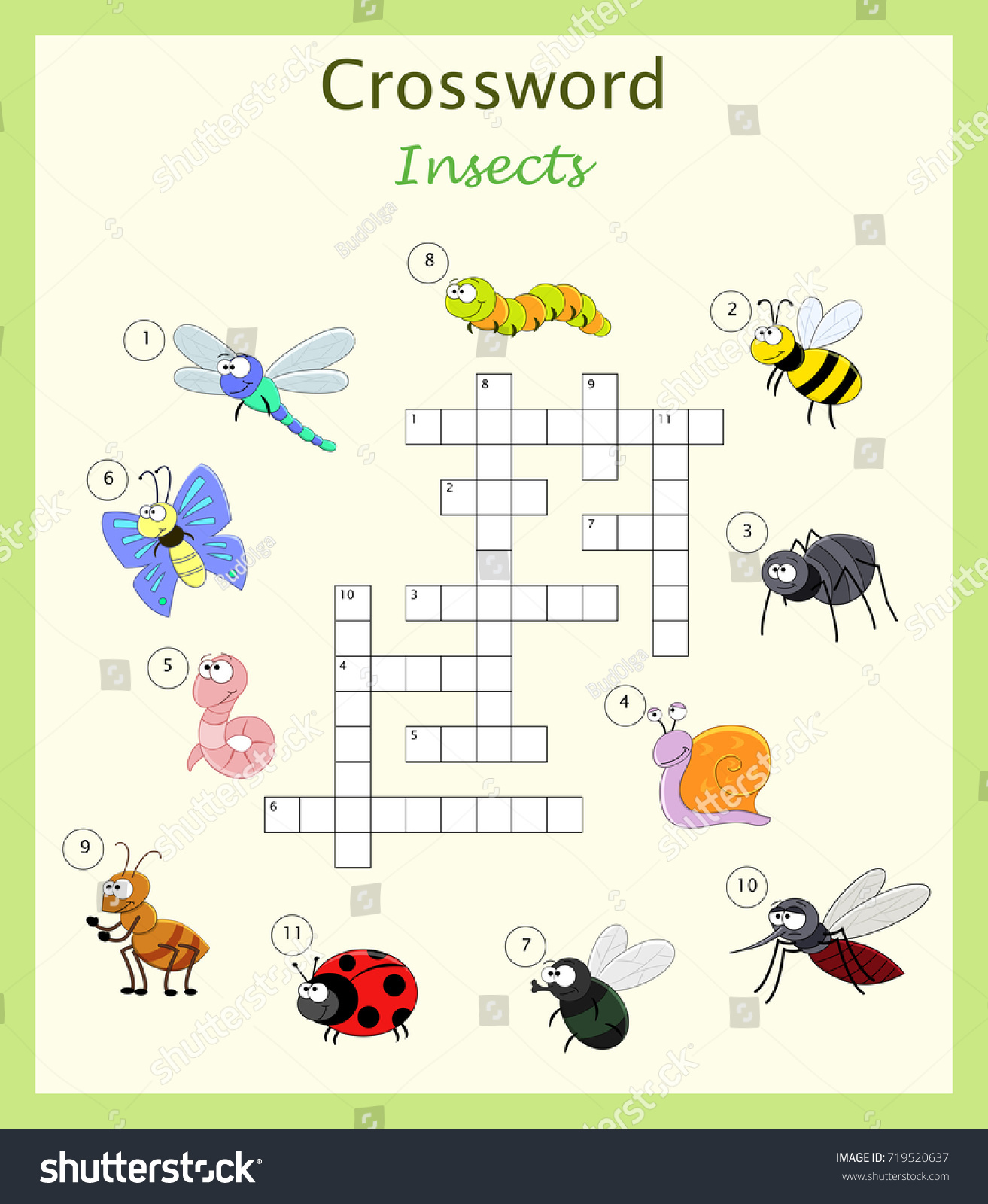 Preschool Worksheet Crossword Children Cartoon Insects Stock Vector