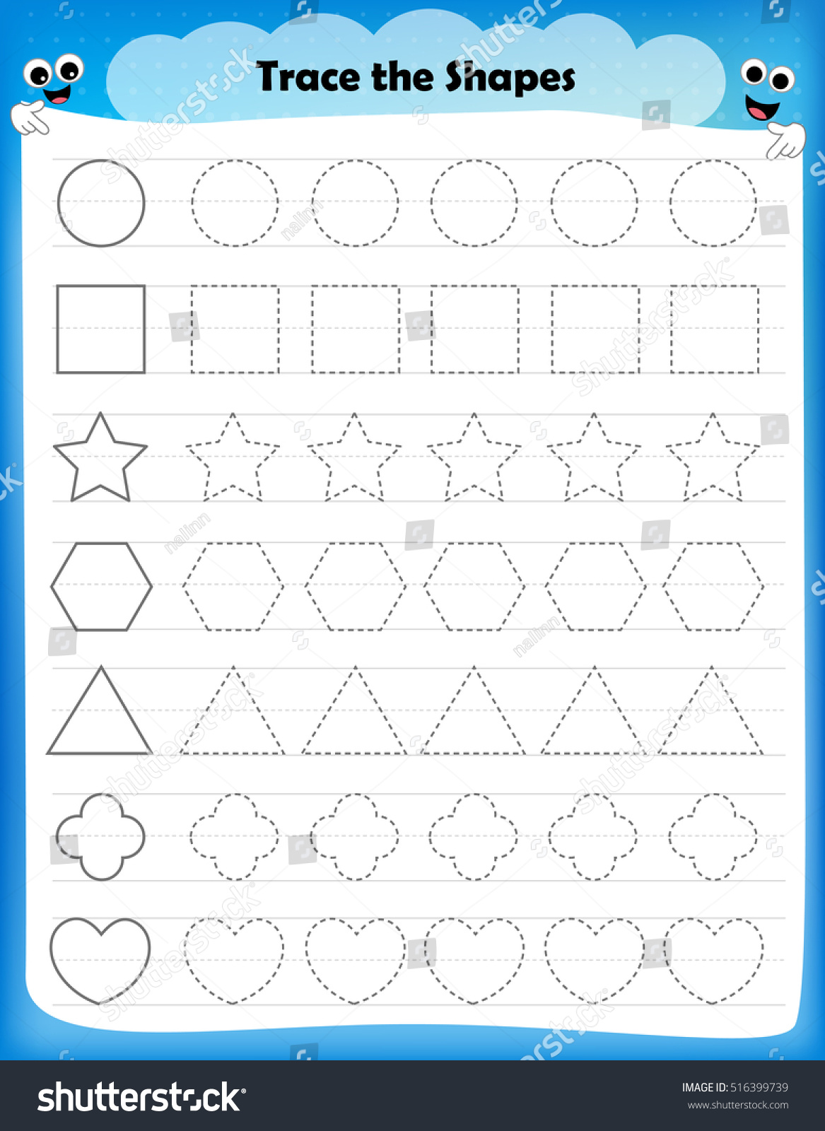 Circle Preschool Shapes Worksheet Tracing Lines
