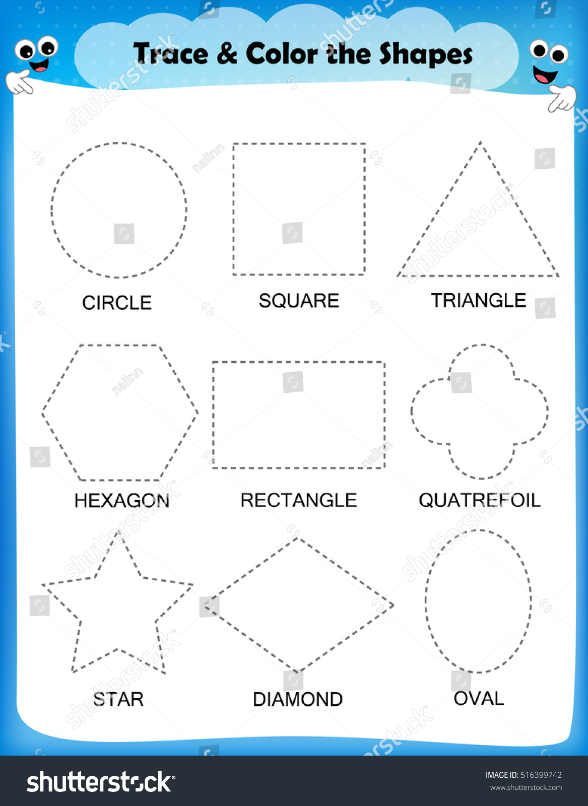 Preschool Worksheet Trace Shapes Color Basic Stock Vector