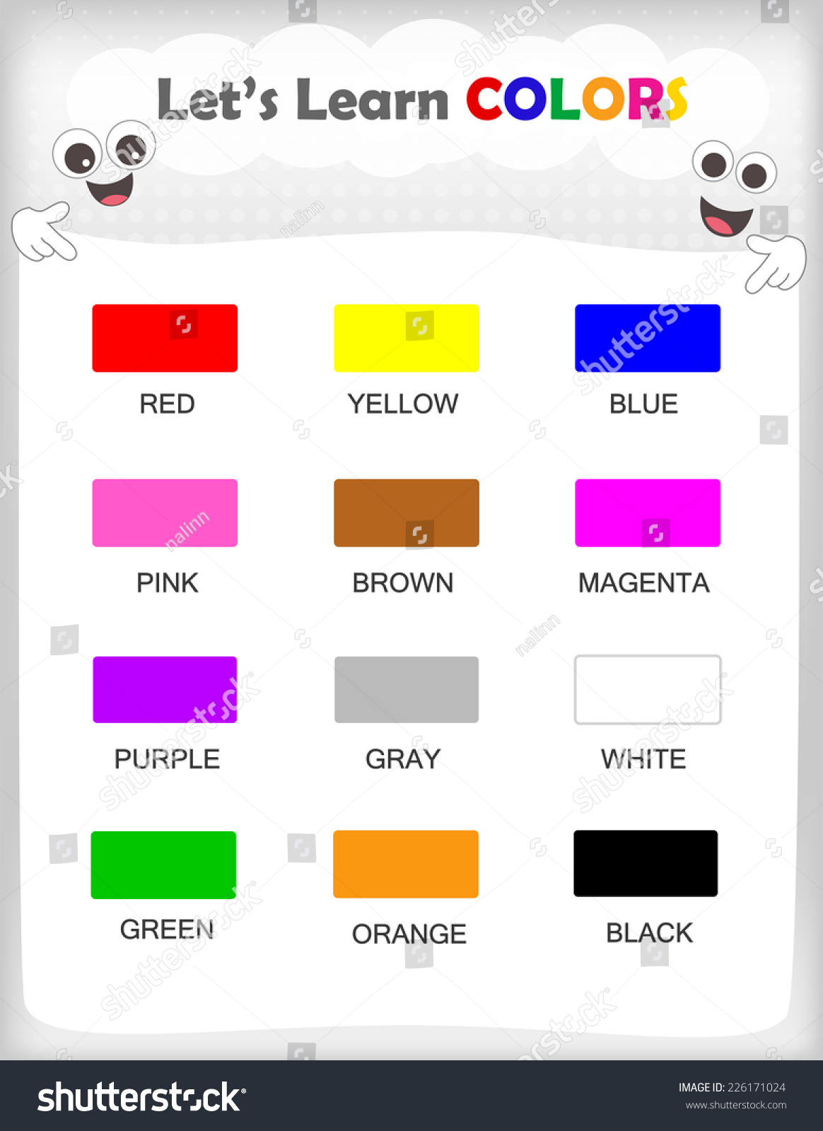 Printable Kids Learning Sheet 12 Different Stock Vector