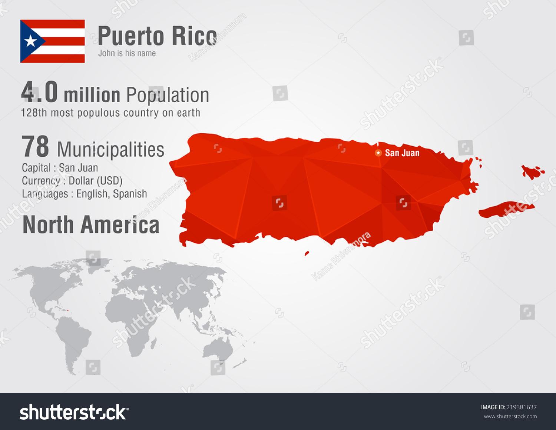 Puerto Rico World Map Pixel Diamond Stock Vector