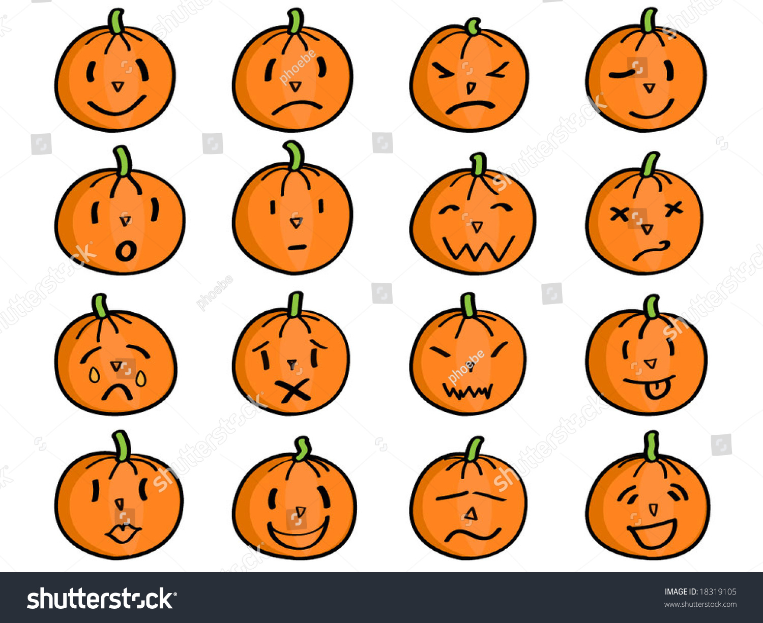 Pumpkin With Different Facial Expressions
