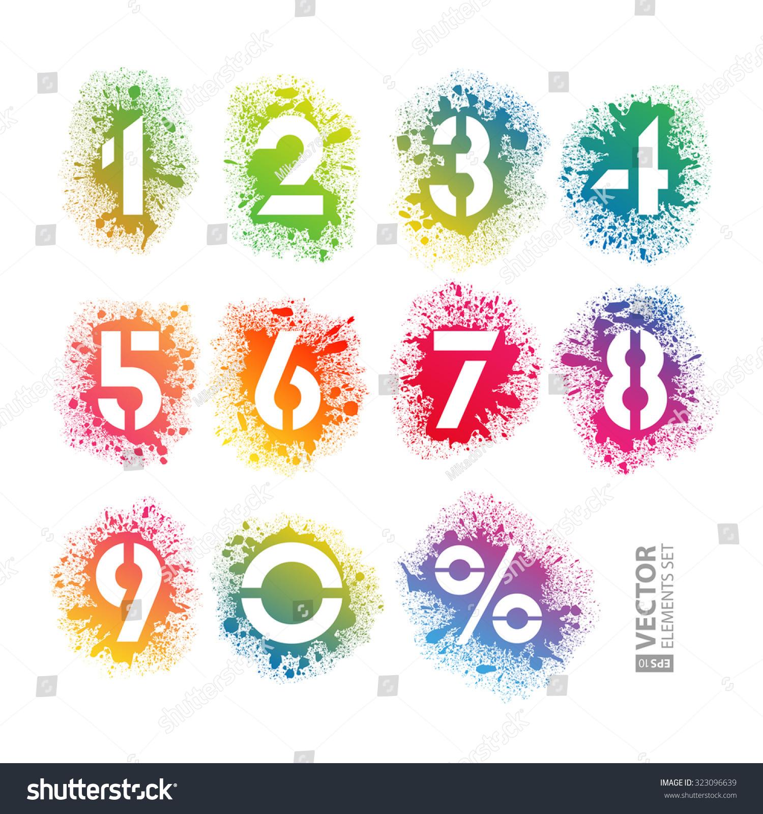 Rainbow Paint Splatter Stencil Numbers Alphabet Stock