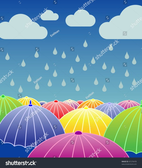 Rainy Day Background Open Colourful Umbrellas Stock Vector ...