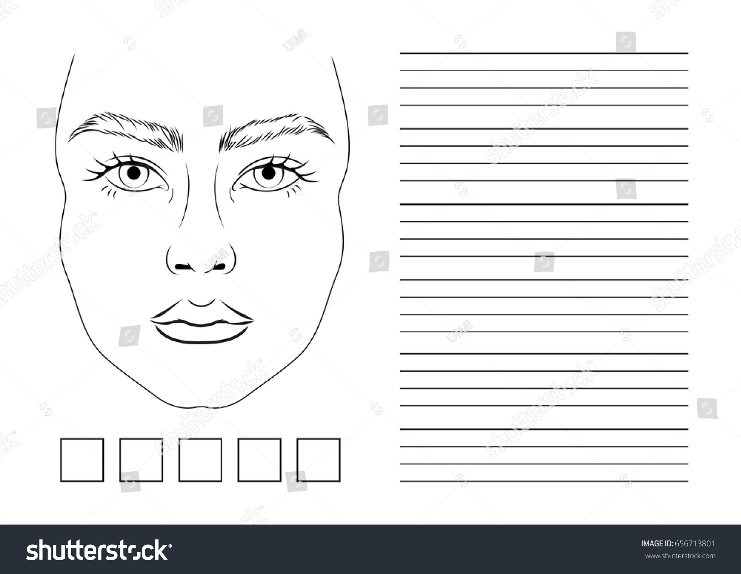 Ready Printing Landscape Orientation Face Chart Vectores