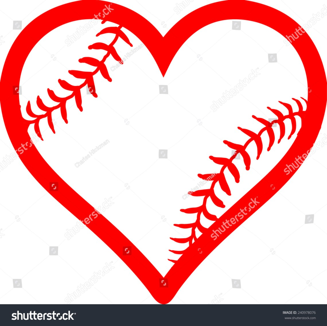 Download Red Heart With Baseball Laces. I Love Baseball Stock ...