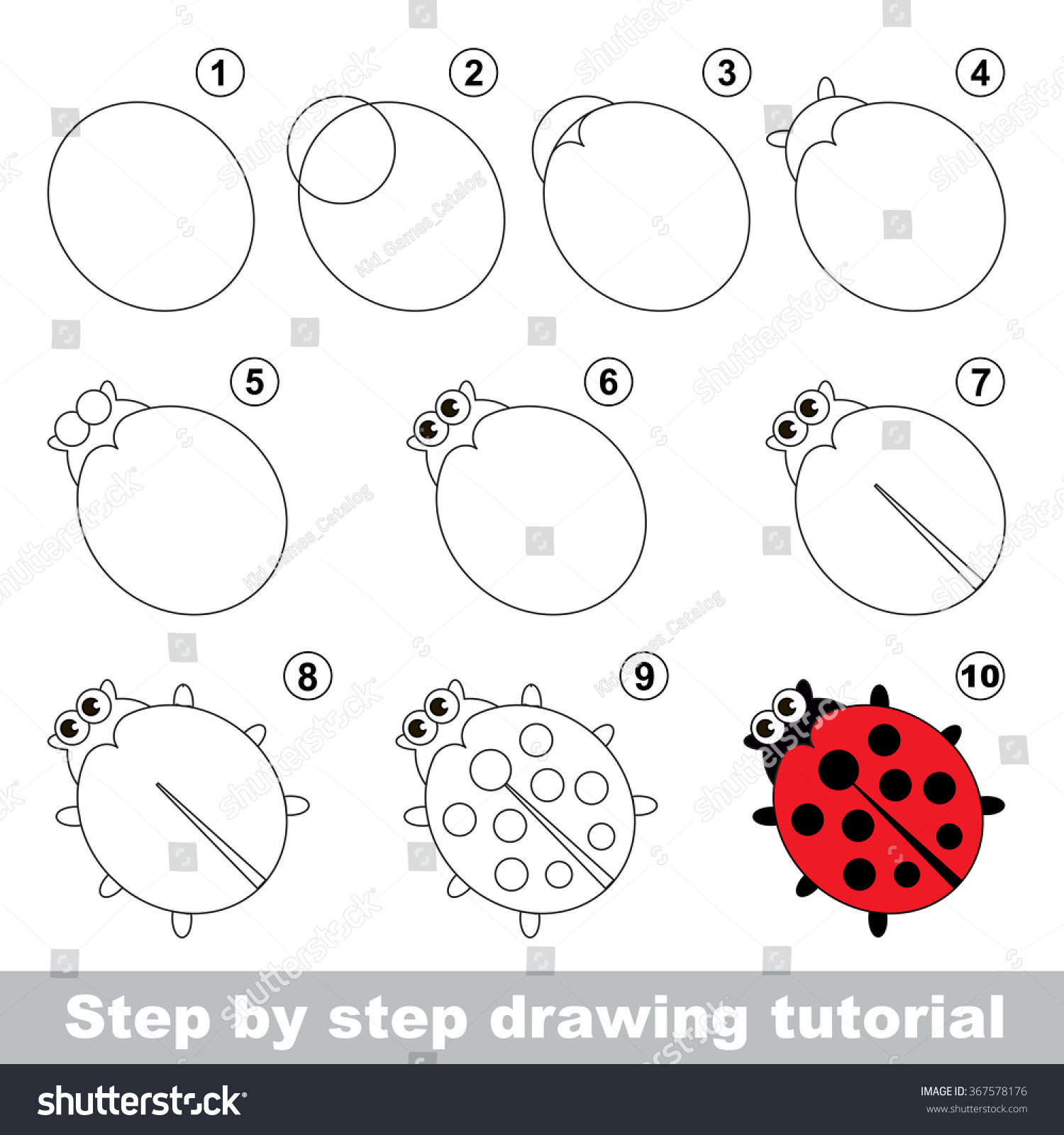 Red Ladybug Step By Step Drawing Stock Vector