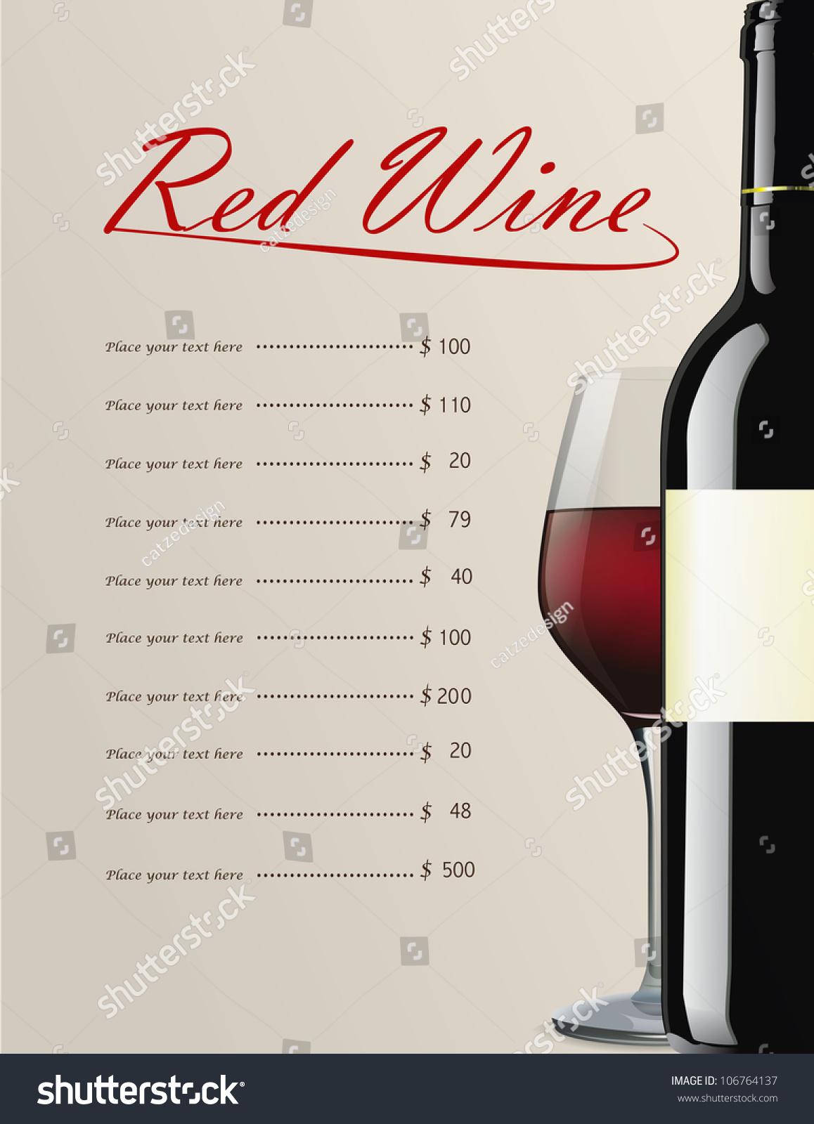 Red Wine Menu Editable Illustration Stock Vector 106764137 Shutterstock