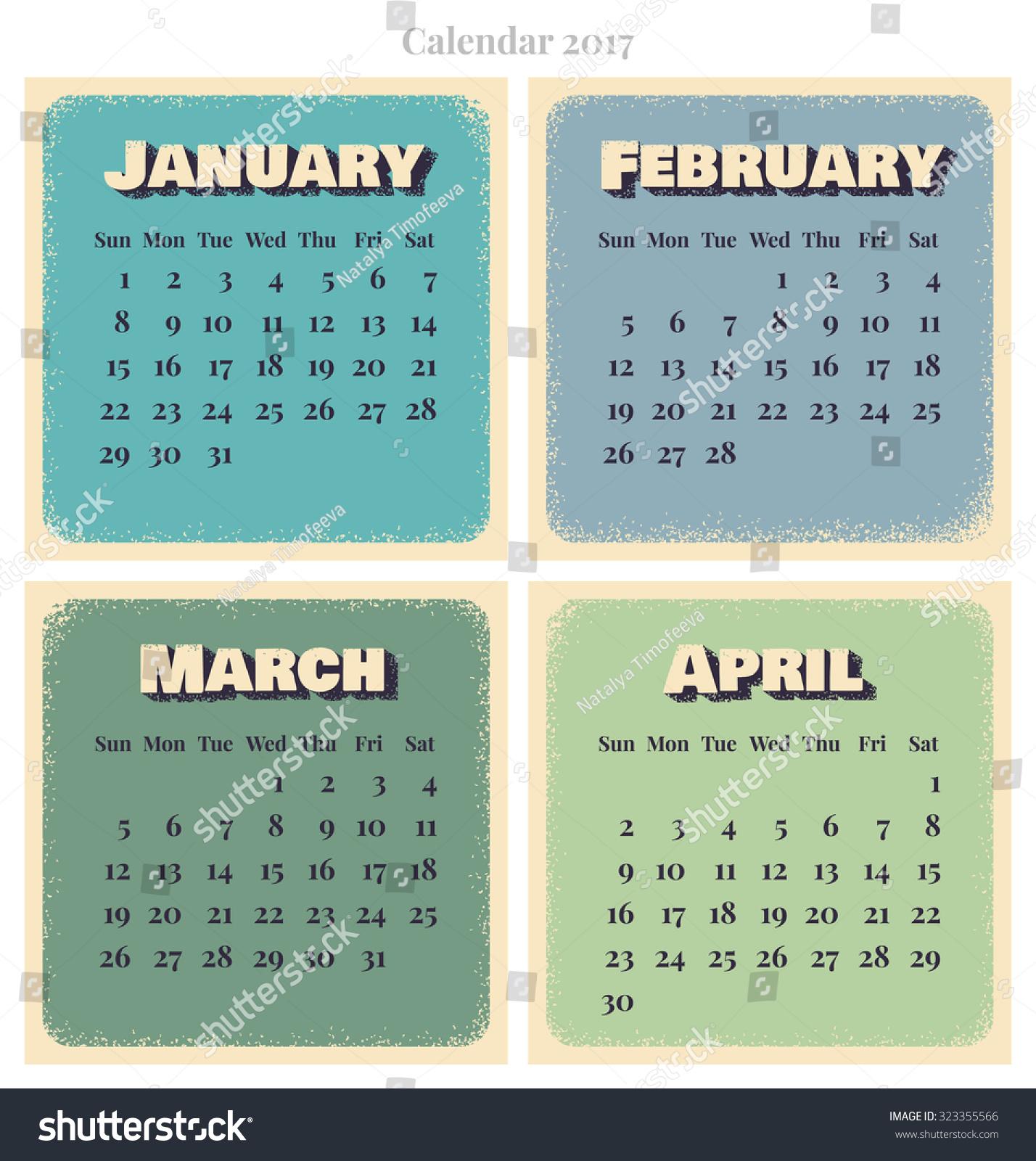 Retro Vector Calendar Week Starts Sunday January February March April
