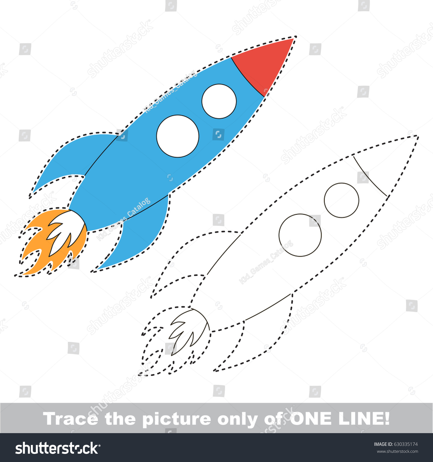 Rocket Dot Dot Educational Game Kids Stock Vector