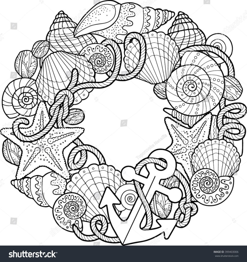 round frame made shells coloring pages stock vector