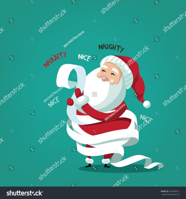 Santa Claus Wrapped His Naughty Nice Stock Vector ...