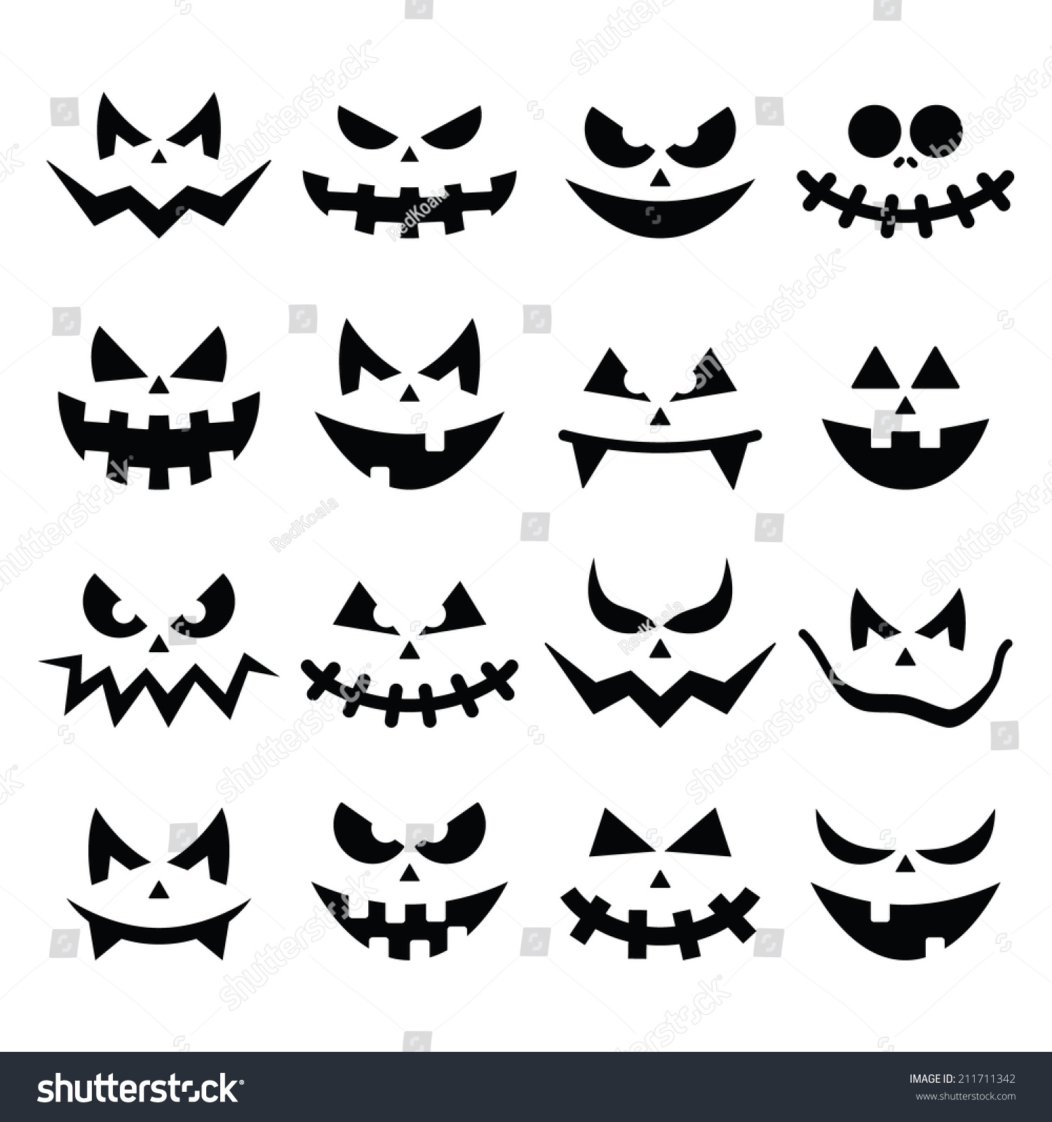 Scary Halloween Pumpkin Faces Icons Set Stock Vector