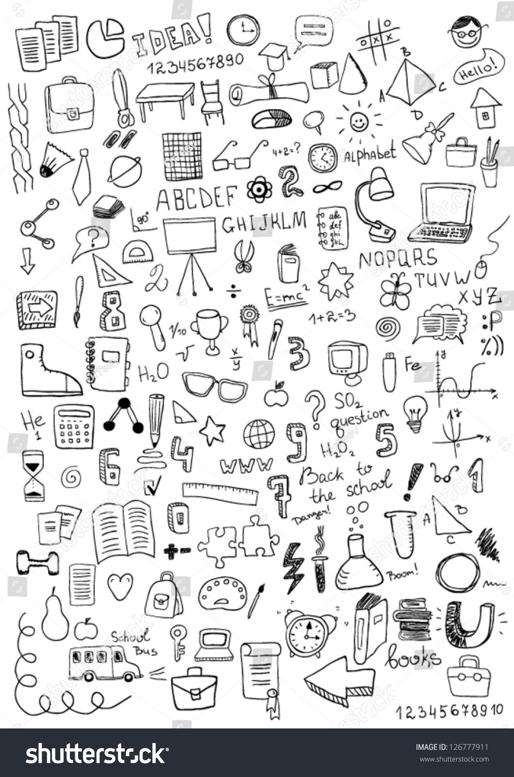School Objects Stock Vector 126777911 Shutterstock