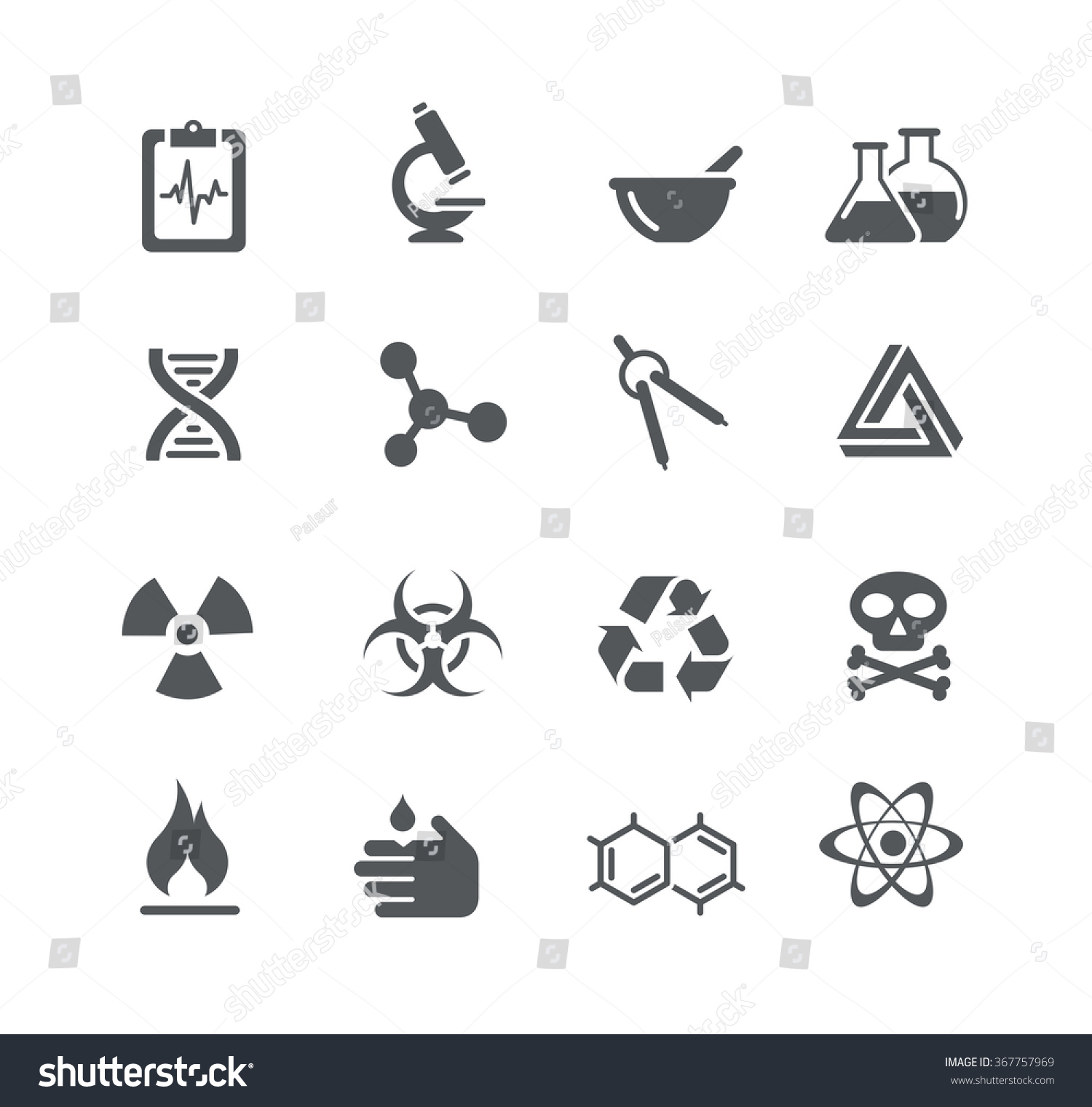 Science Signs Symbols Utility Series Stock Vector