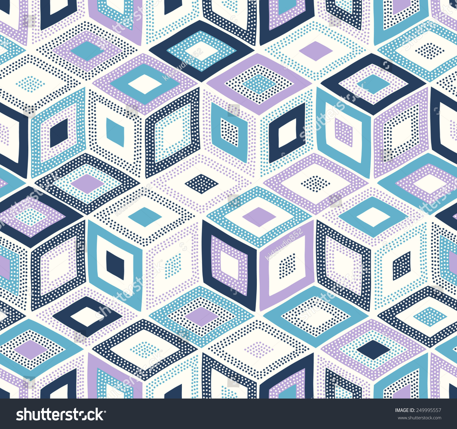 Seamless Doodle Dots Geometric Square Pattern Stock Vector
