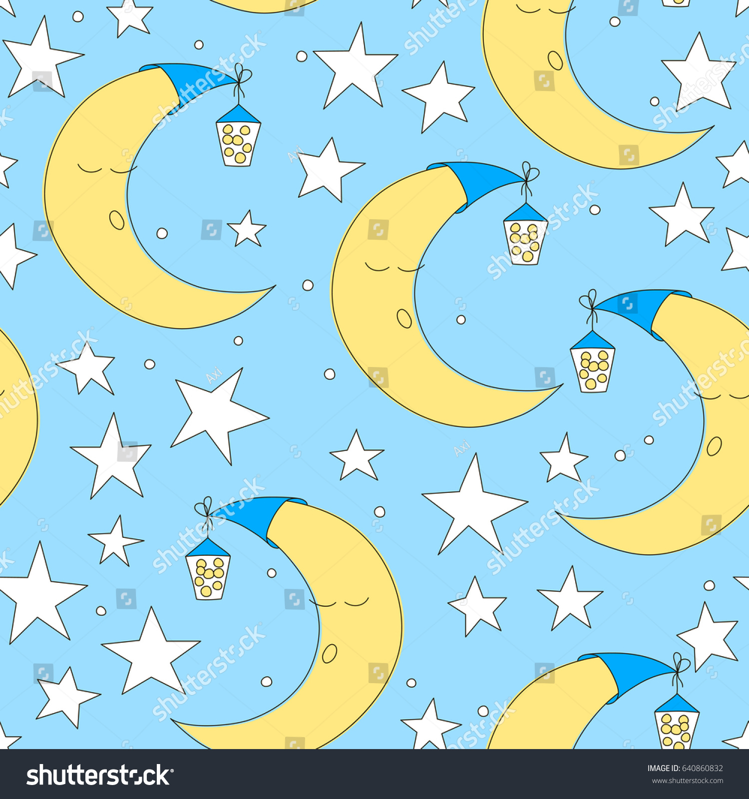 Seamless Moon Star Pattern Vector Illustration Stock