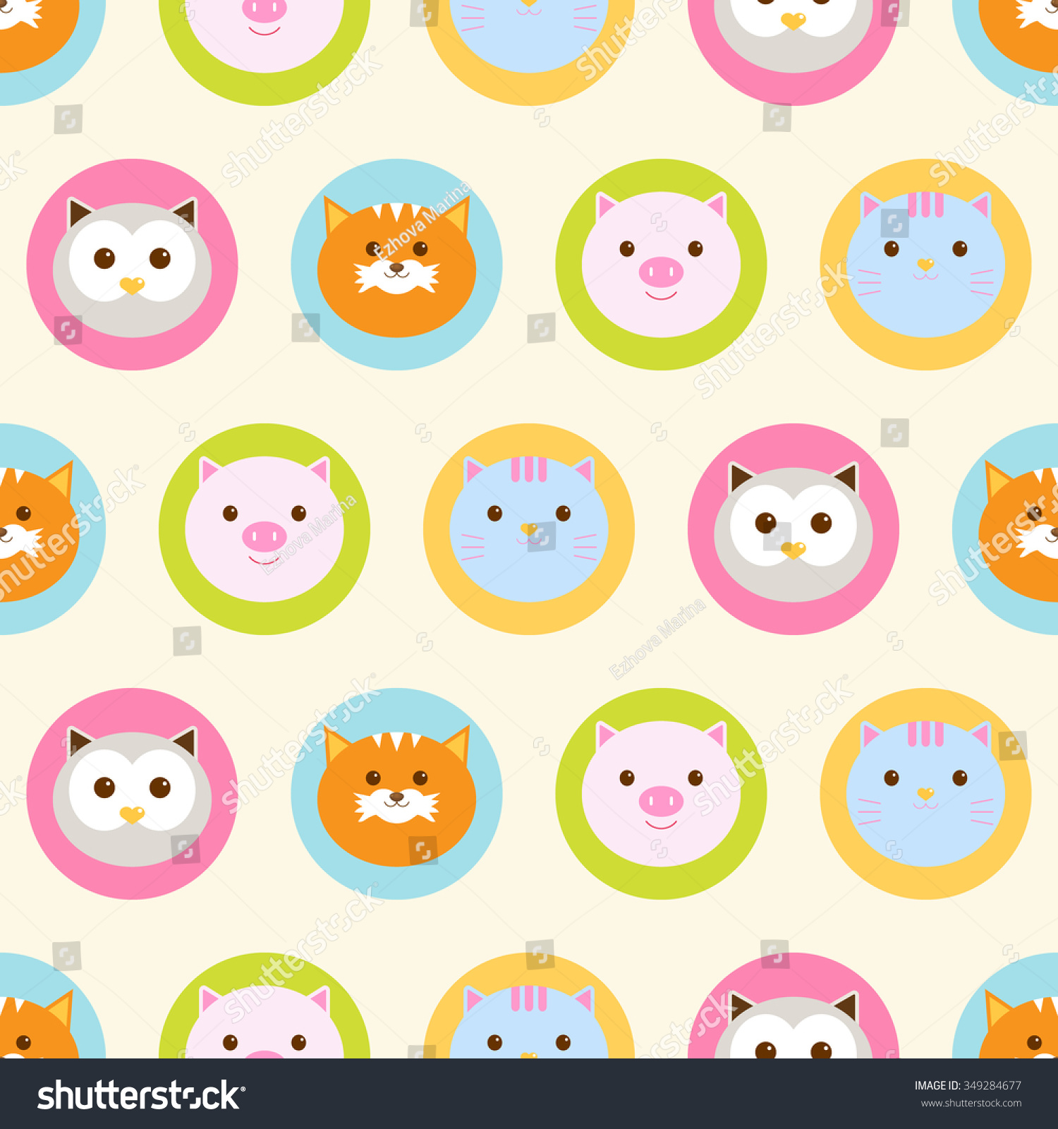 Seamless Pattern Baby Background With Cute Round Animals