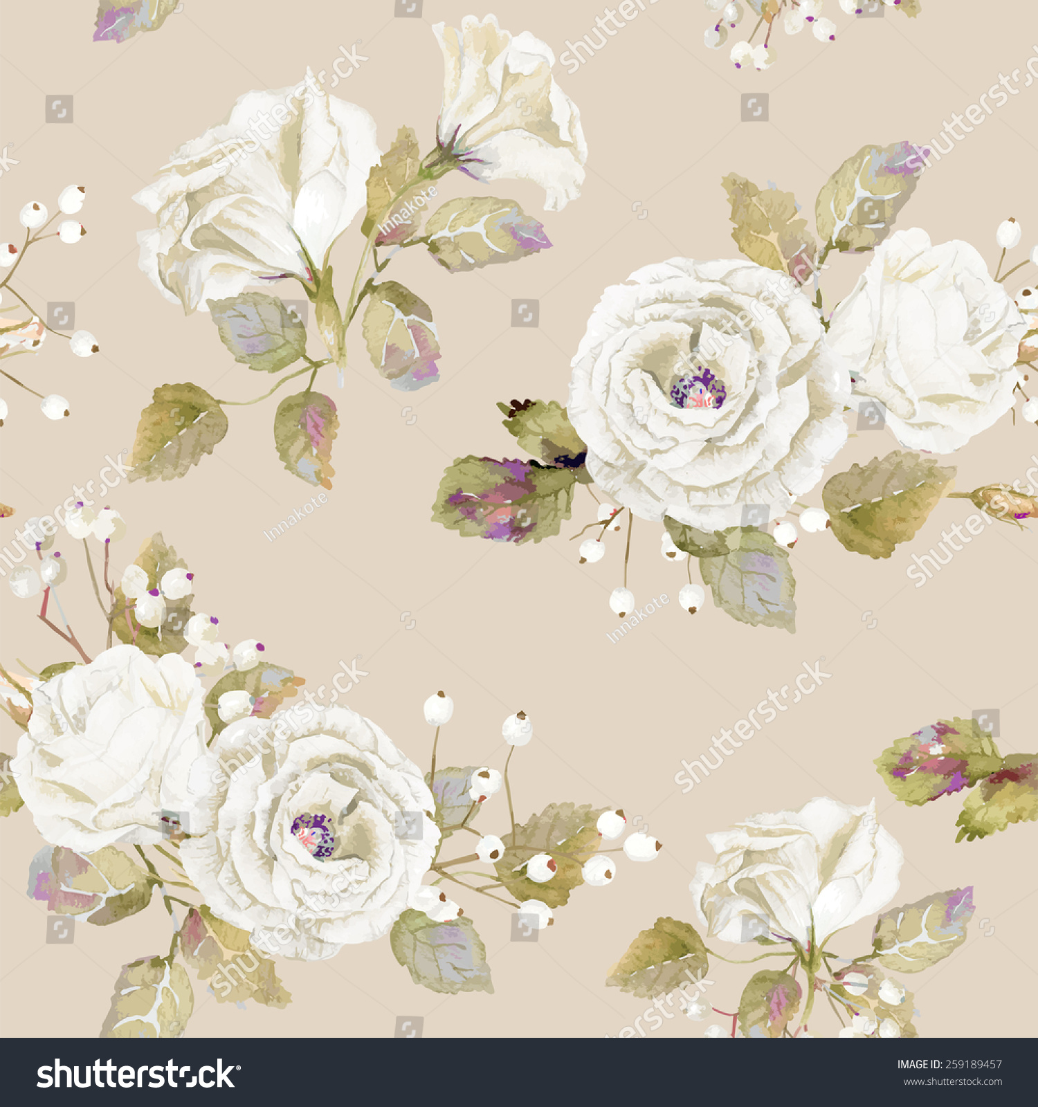 Seamless Pattern Vector Watercolor White Roses Stock