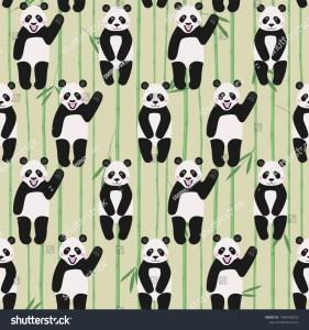 Seamless Pattern Cute Pandas On Bamboo Stock Vector Royalty Free 1349049053