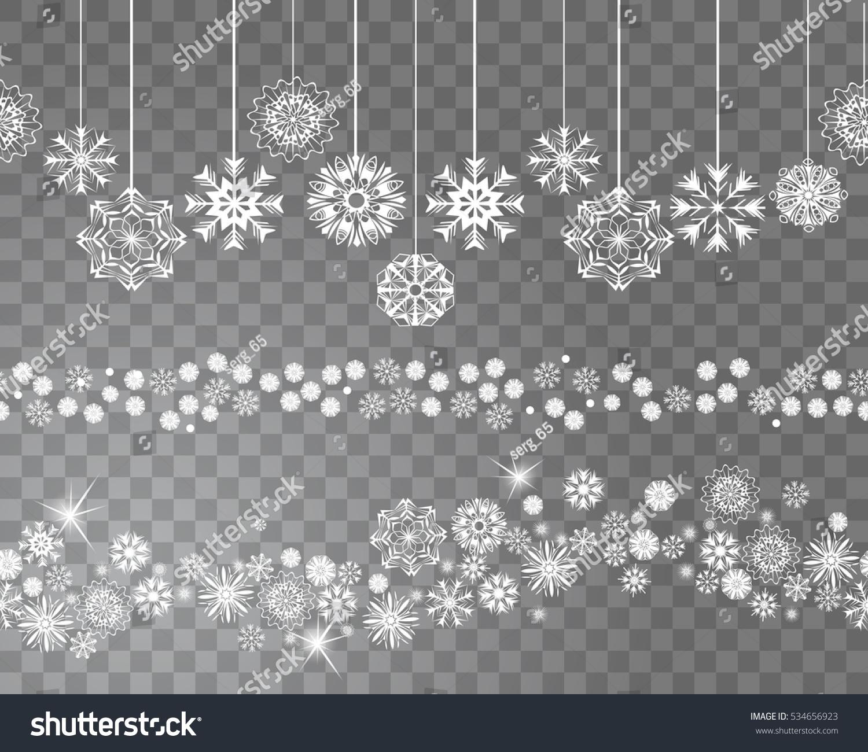 Seamless Snowflakes Border Decoration On Transparent Stock