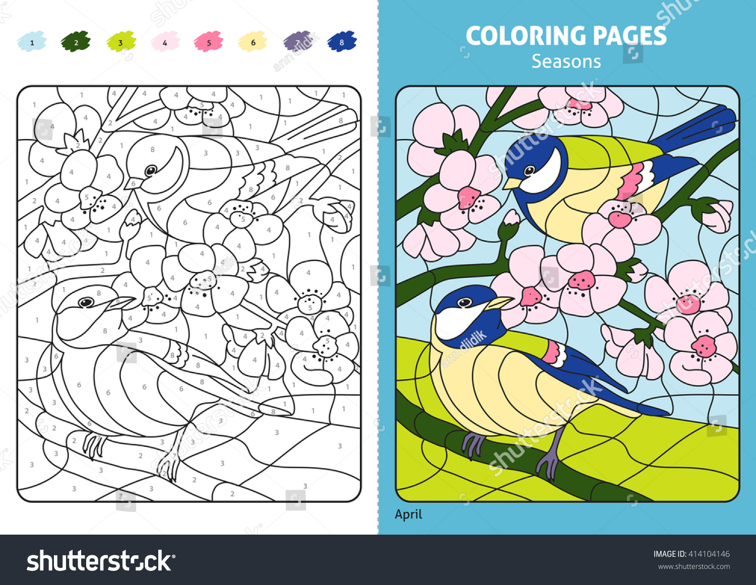 Seasons Coloring Page Kids April Monthprintable Stock Vector