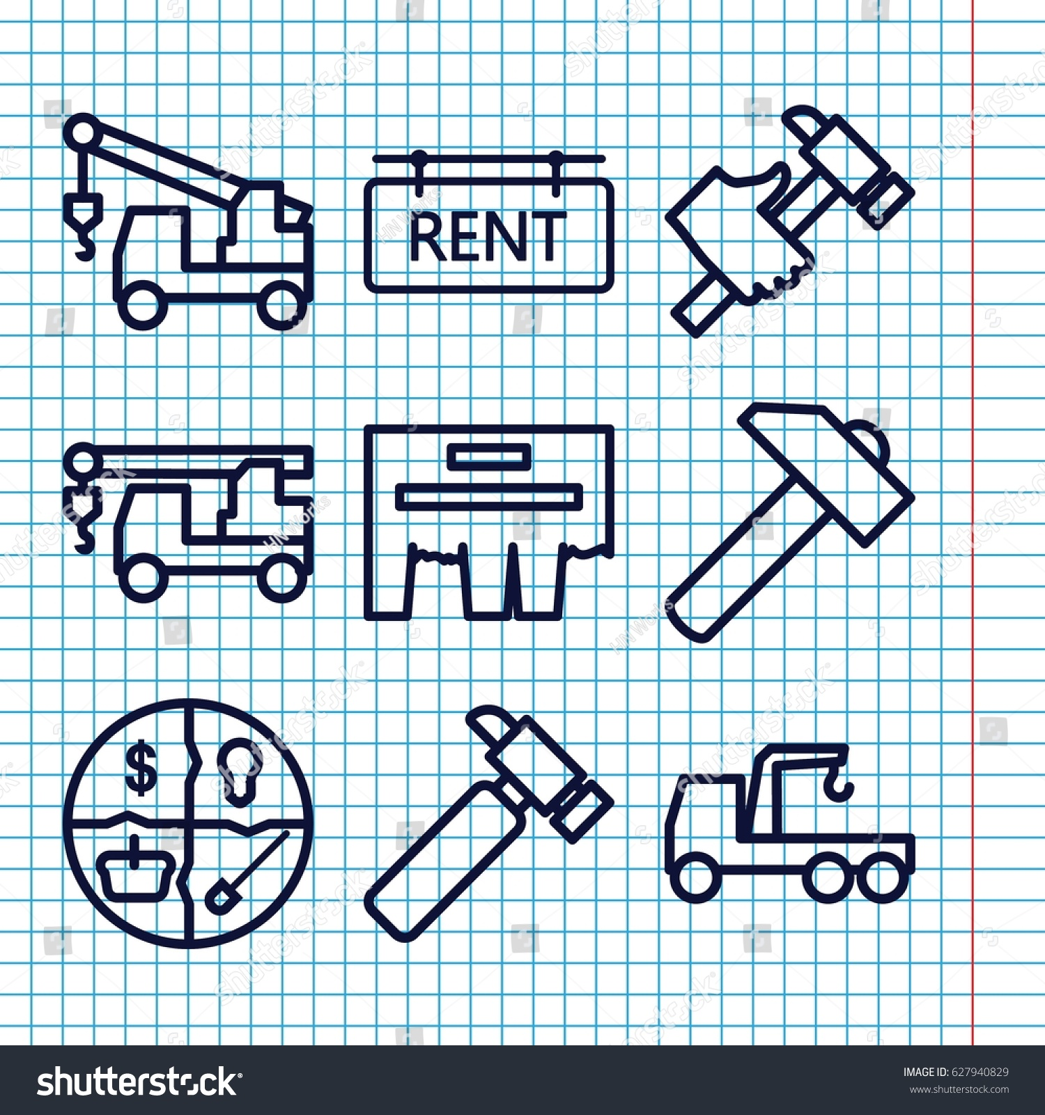 Set 9 Advertising Outline Icons Such Stock Vector