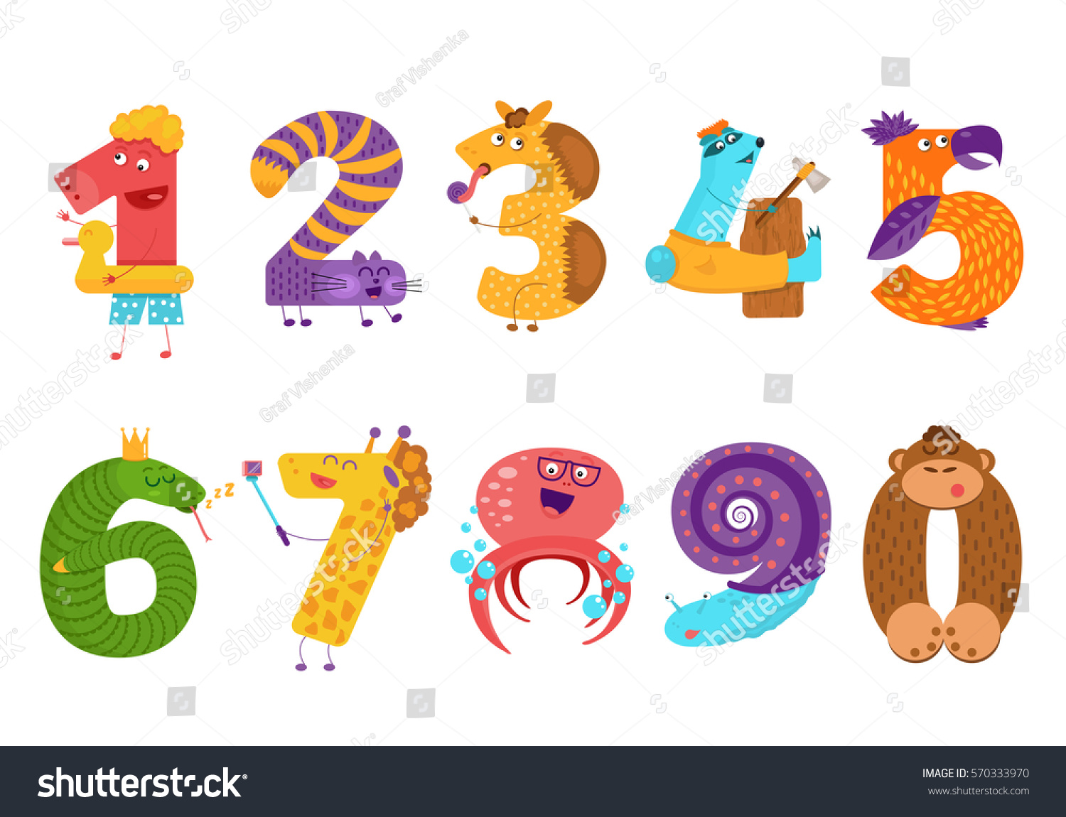 Set Cartoon Animal Numbers Flat Style Stock Vector