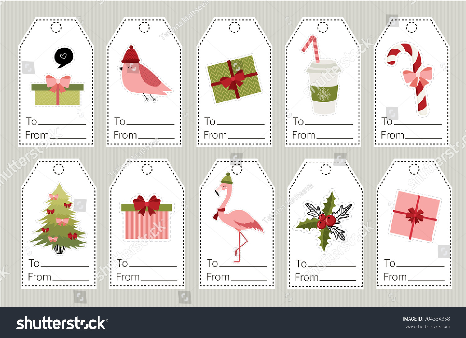 Set Christmas New Year Gift Tags Stock Vector 704334358